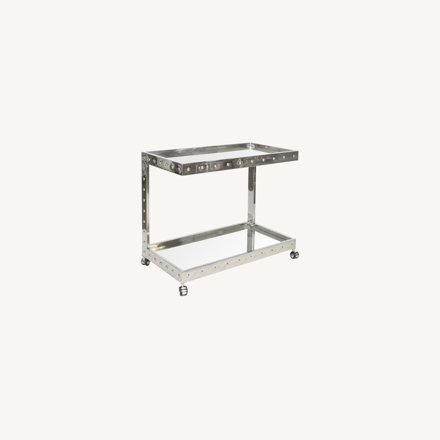 Worlds Away Polished Stainless Steel Bar Cart - image-0