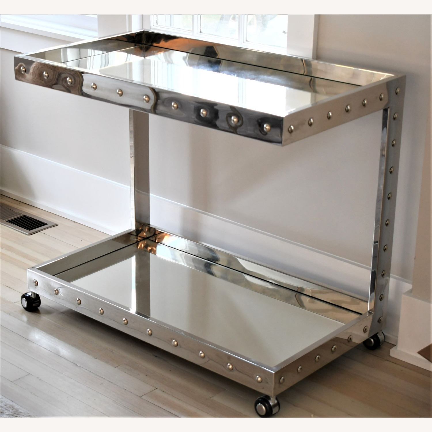 Worlds Away Polished Stainless Steel Bar Cart - image-3