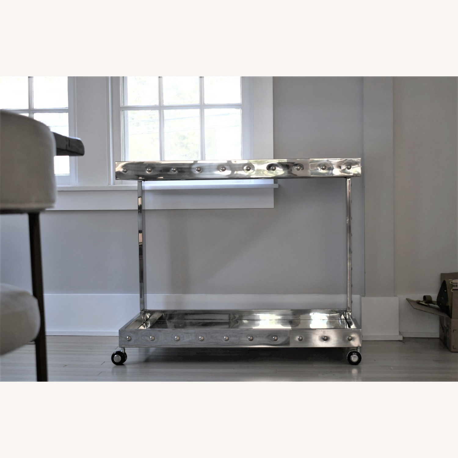Worlds Away Polished Stainless Steel Bar Cart - image-2