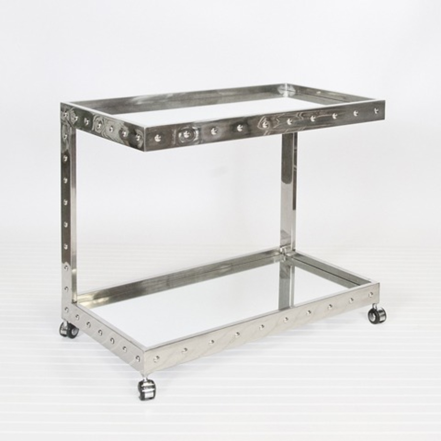 Worlds Away Polished Stainless Steel Bar Cart - image-1