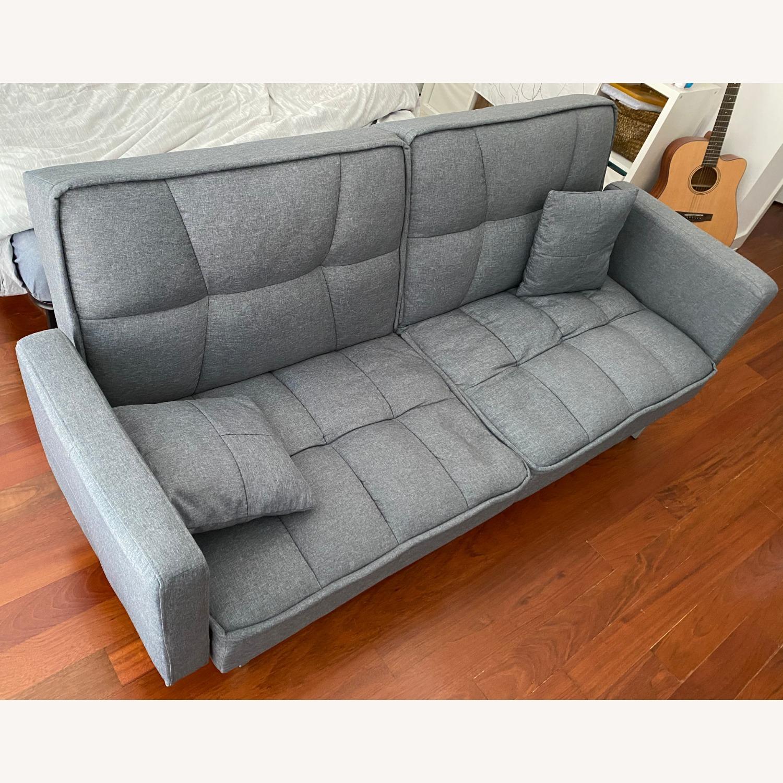 Convertible Sleeper Sofa W Pillows Dark Gray Aptdeco