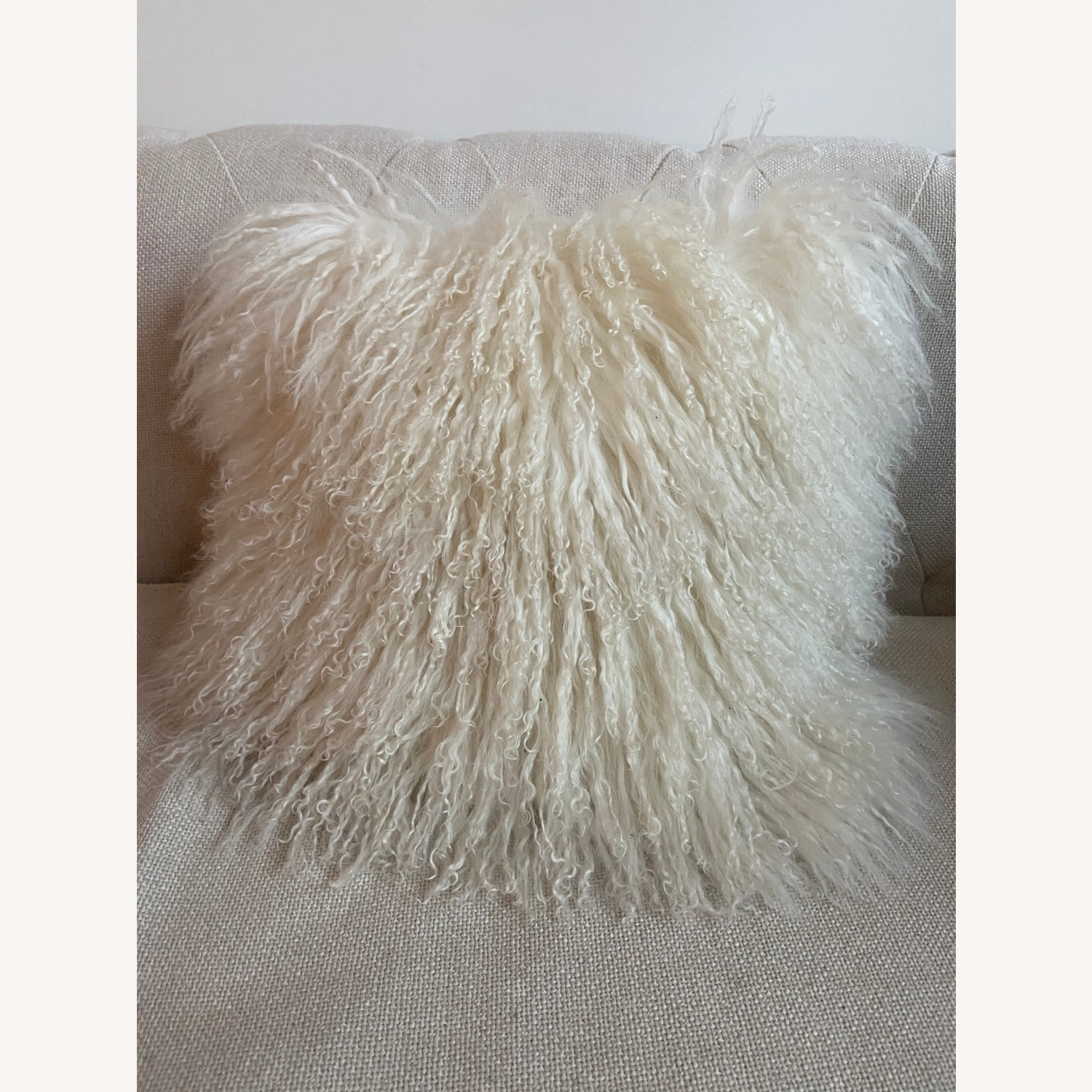 West Elm Mongolian Lamb Pillow, Cream - image-1