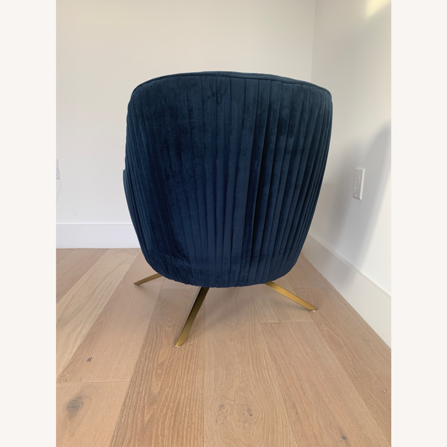 West Elm Pleated Swivel Chair Ink Blue - image-3