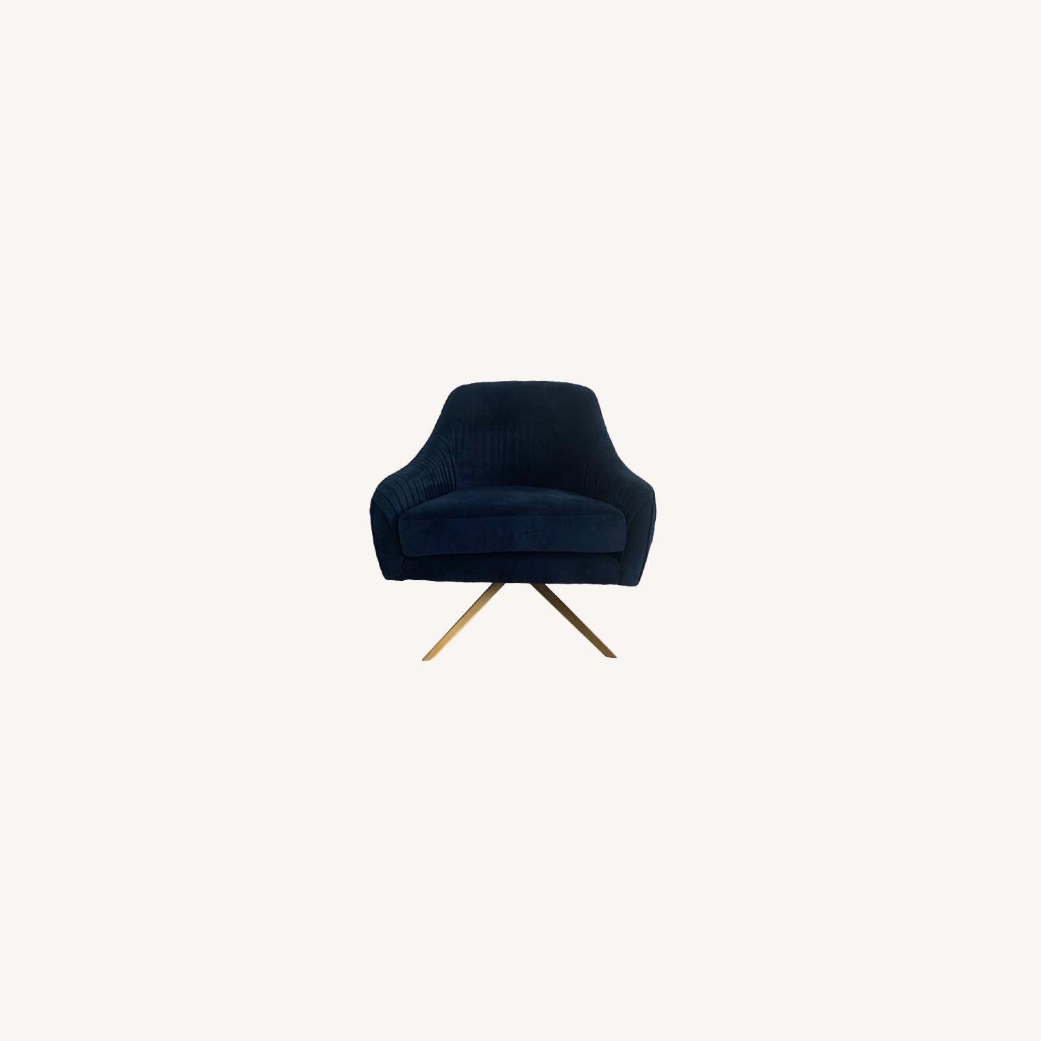 West Elm Pleated Swivel Chair Ink Blue - image-0