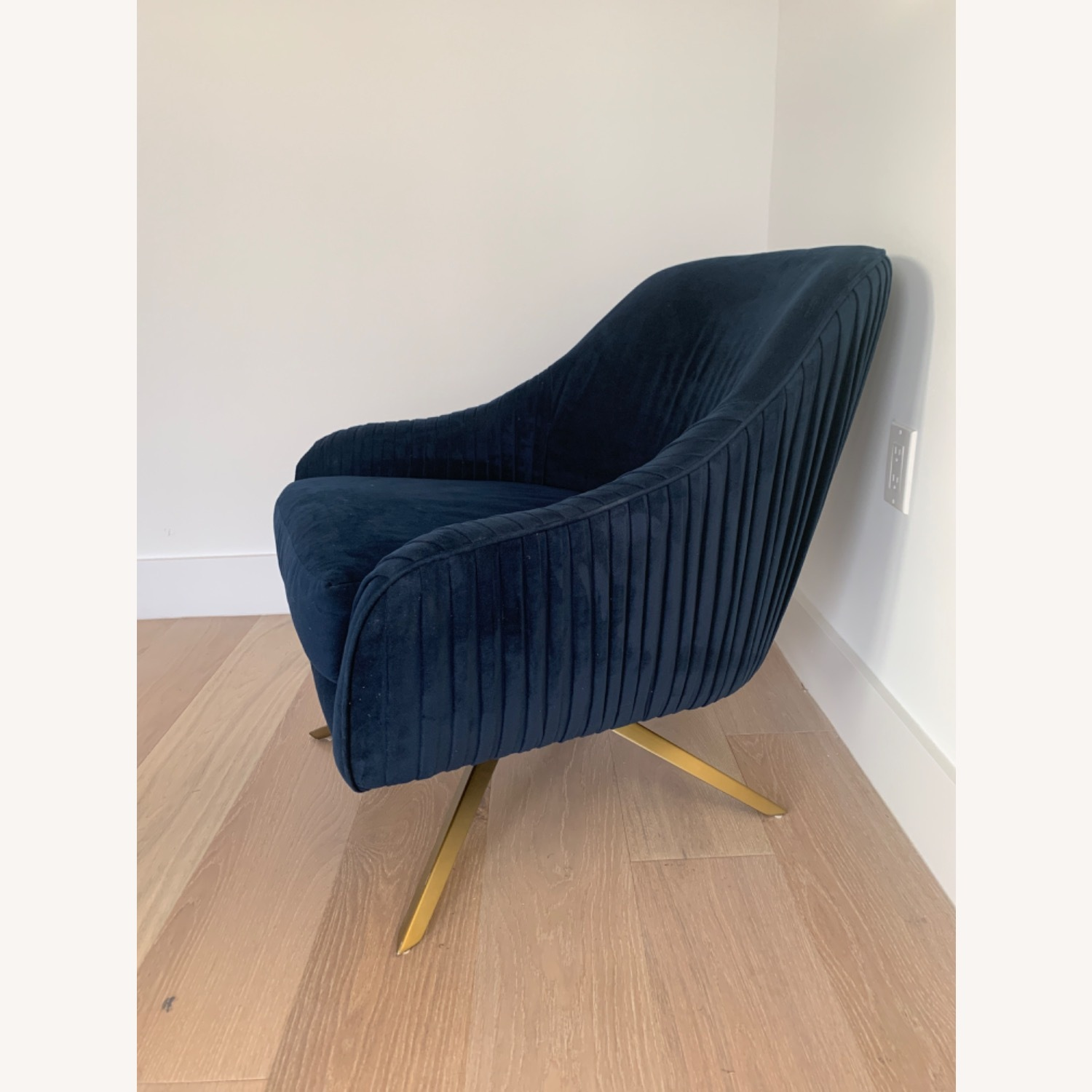 West Elm Pleated Swivel Chair Ink Blue - image-1