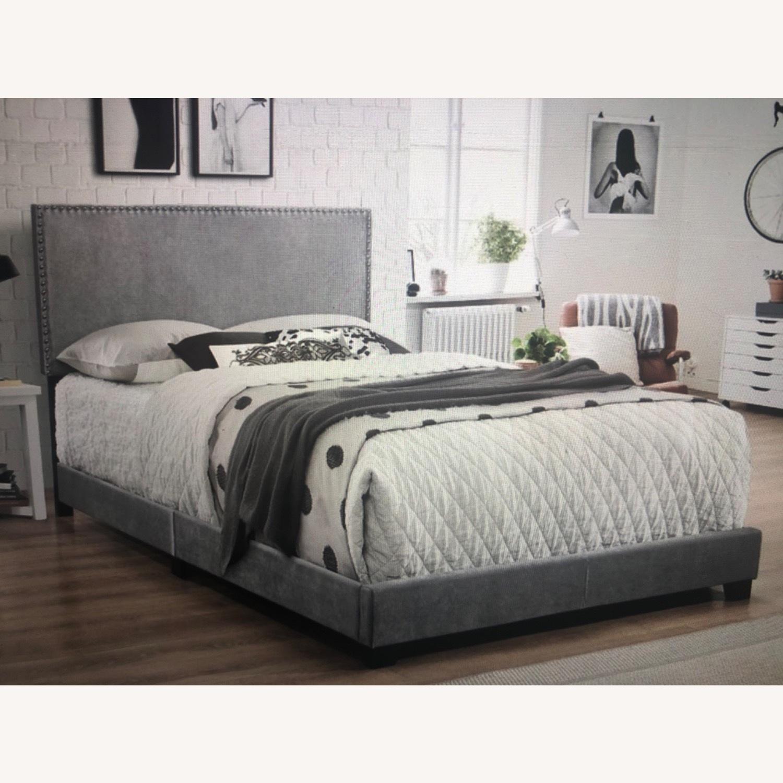 Wayfair Grey Velvet Bed - image-1