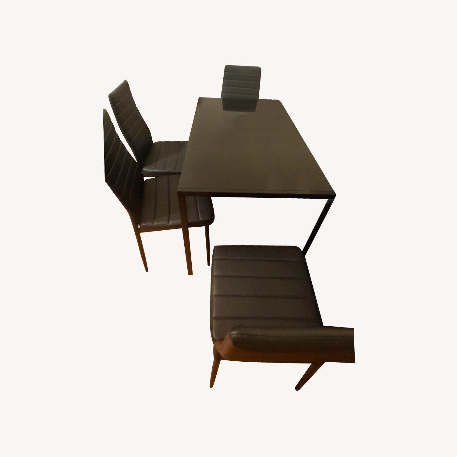 Dining Set Metal Table and Faux Leather Chairs - image-0