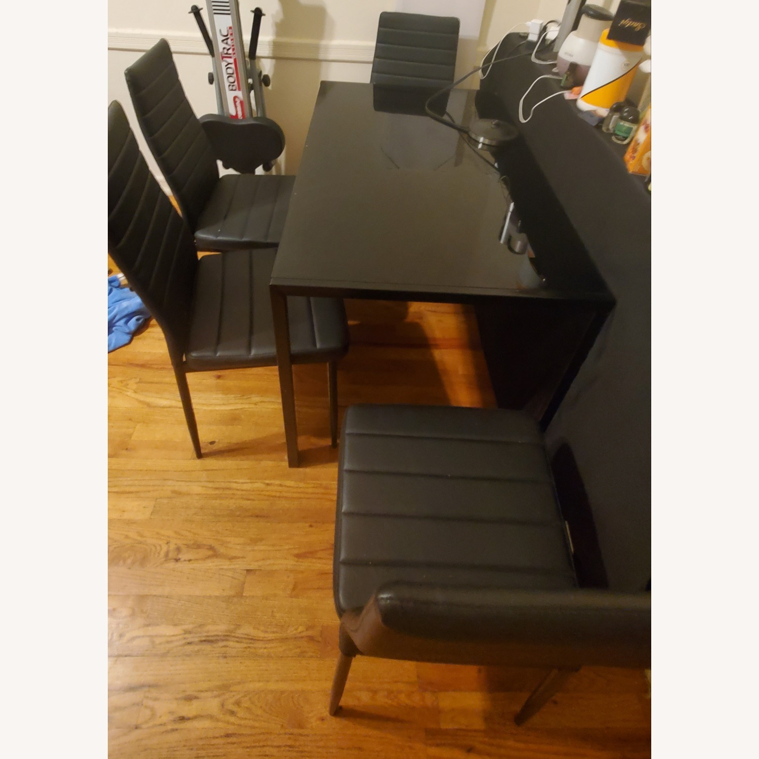 Dining Set Metal Table and Faux Leather Chairs - image-1