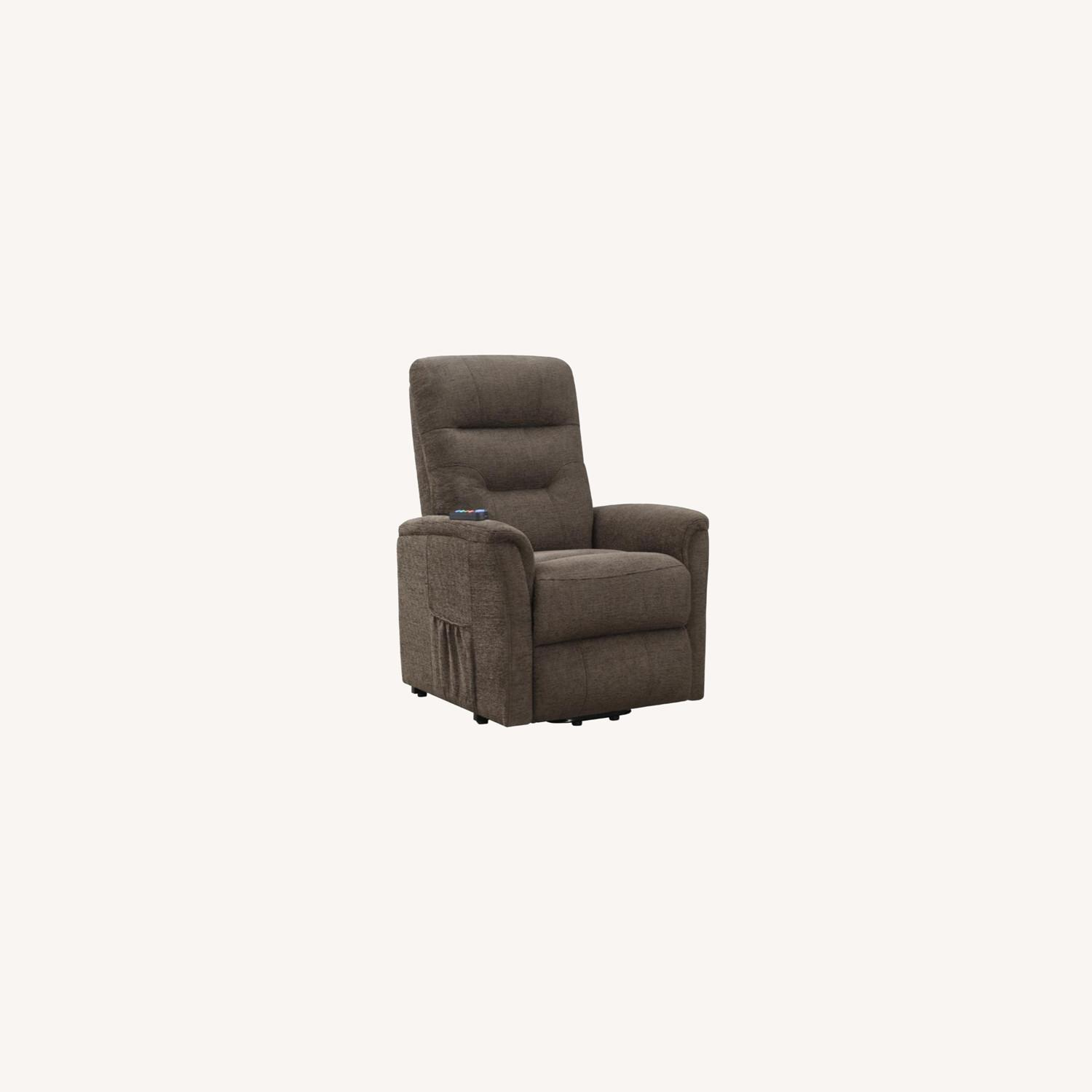 Power Lift Recliner Massage Chair In Brown Leather - image-4