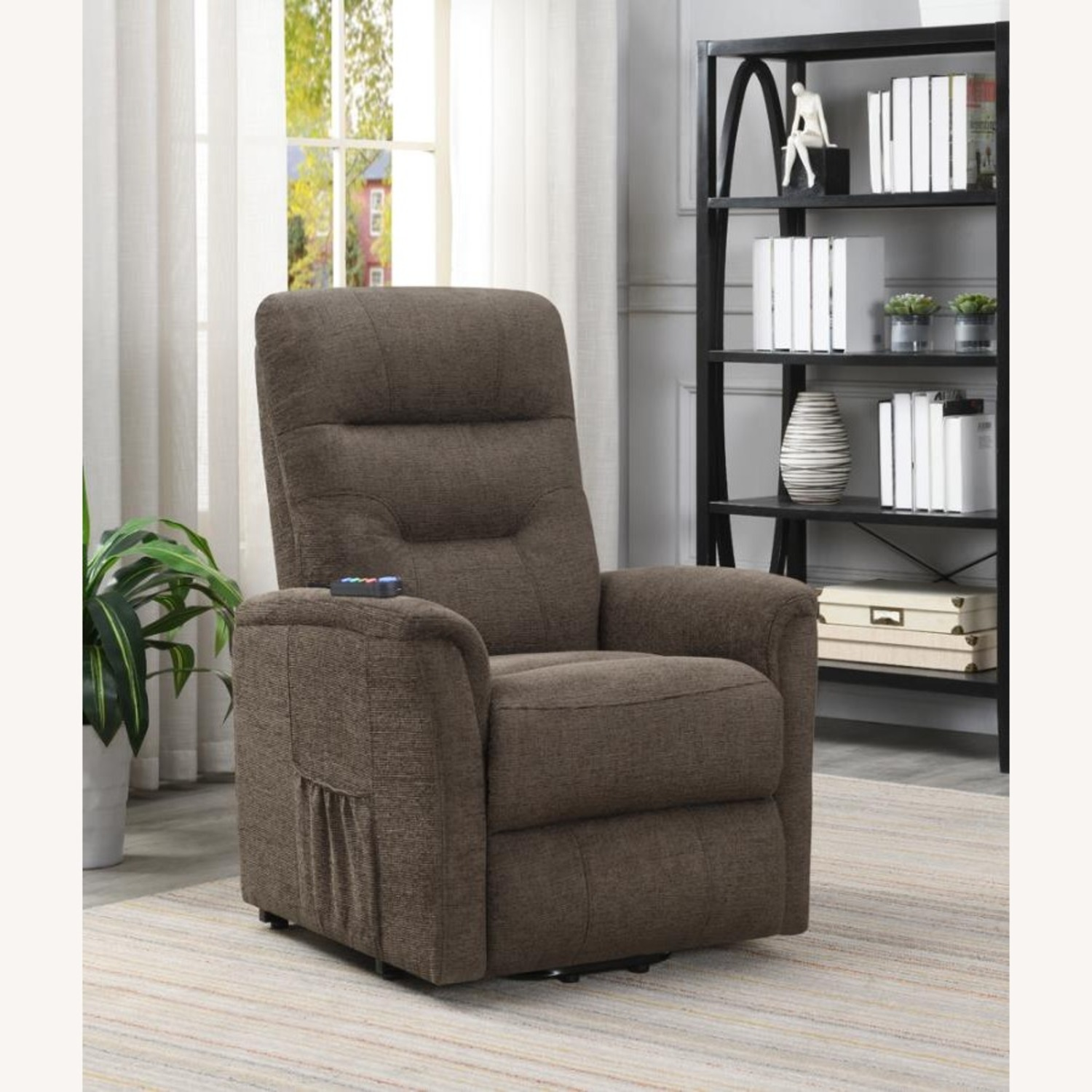 Power Lift Recliner Massage Chair In Brown Leather - image-3