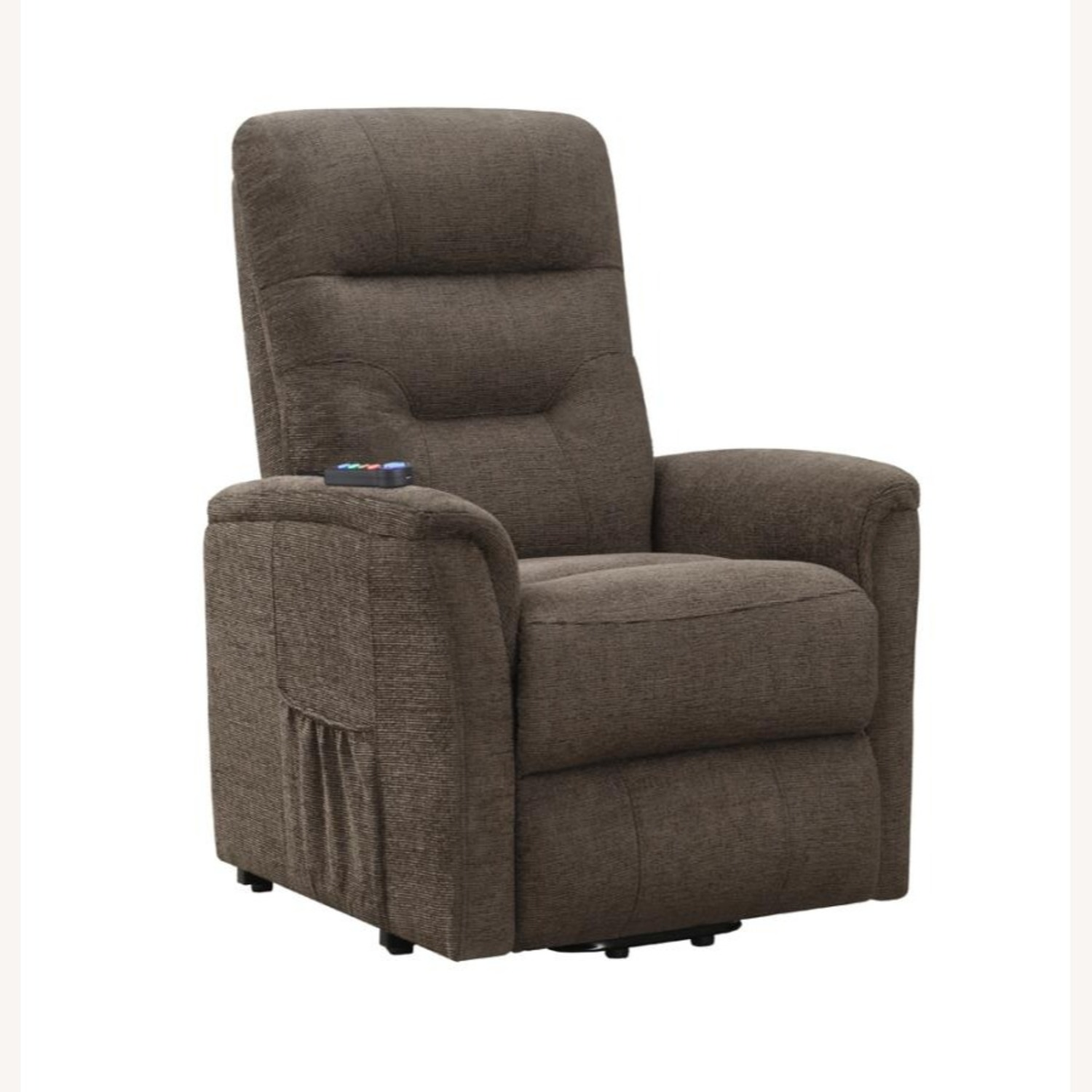 Power Lift Recliner Massage Chair In Brown Leather - image-0
