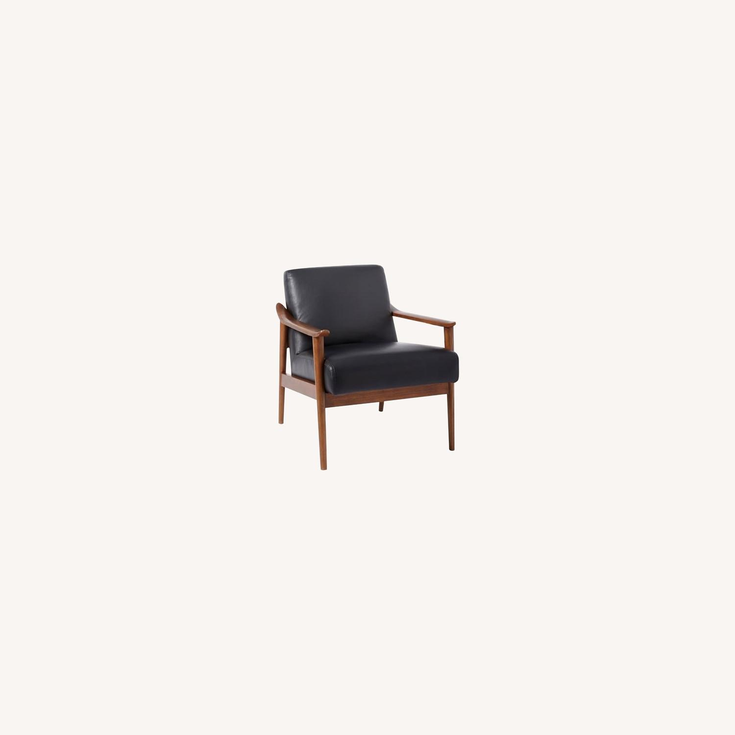 West Elm Mid-Century Leather Wood Chair - image-0