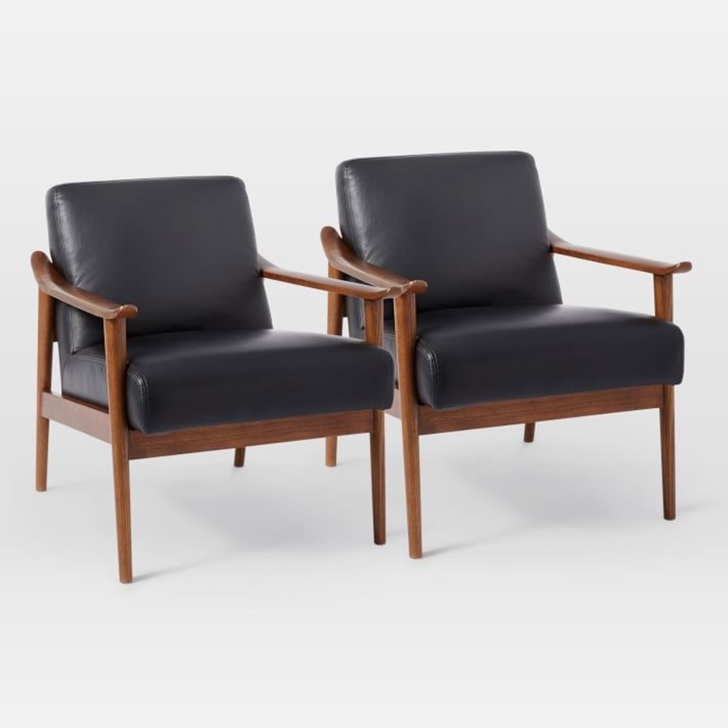 West Elm Mid-Century Leather Wood Chair - image-7