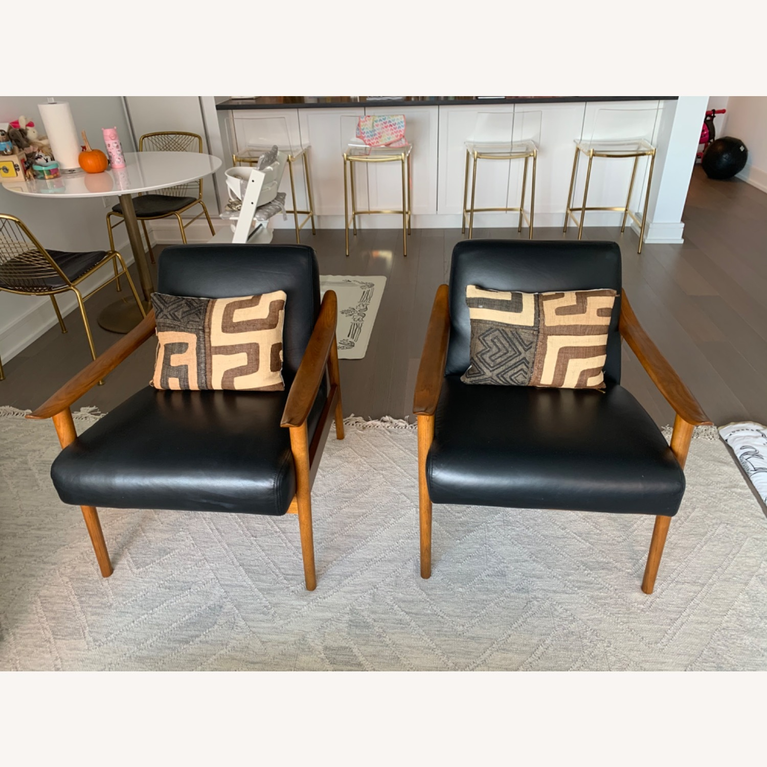 West Elm Mid-Century Leather Wood Chair - image-1