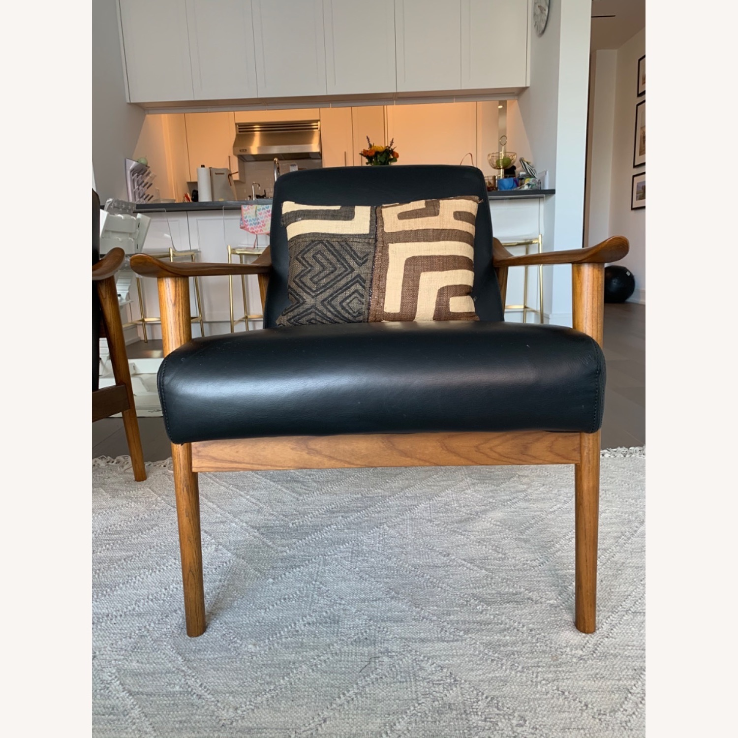 West Elm Mid-Century Leather Wood Chair - image-5