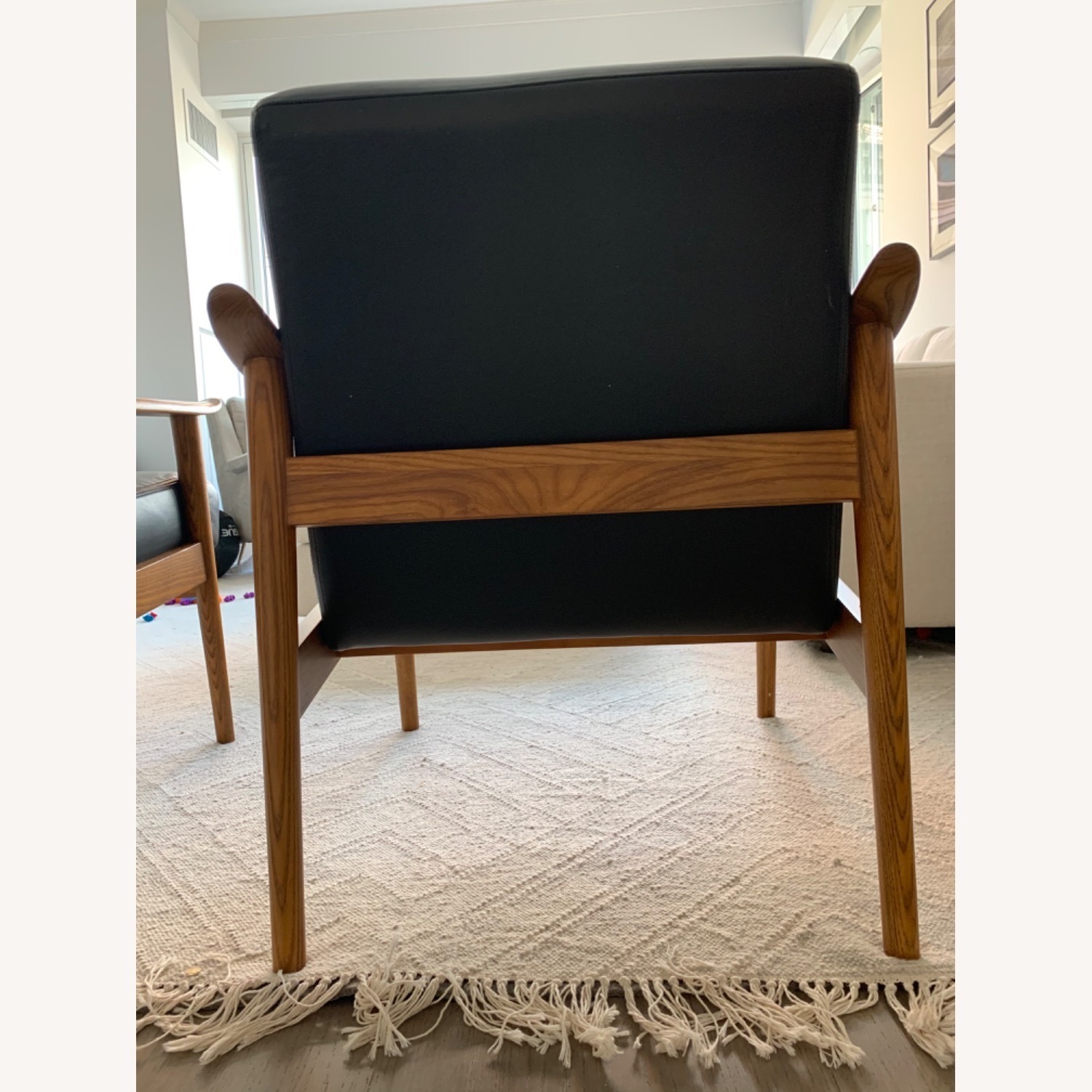 West Elm Mid-Century Leather Wood Chair - image-6