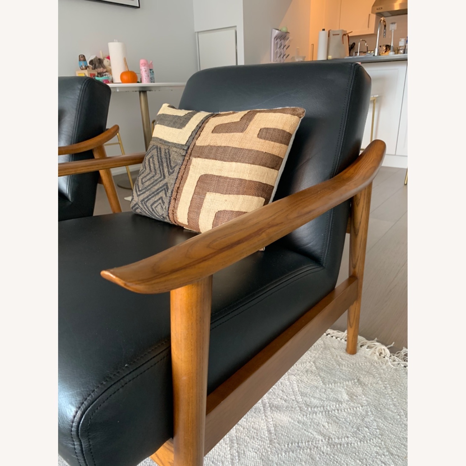 West Elm Mid-Century Leather Wood Chair - image-3