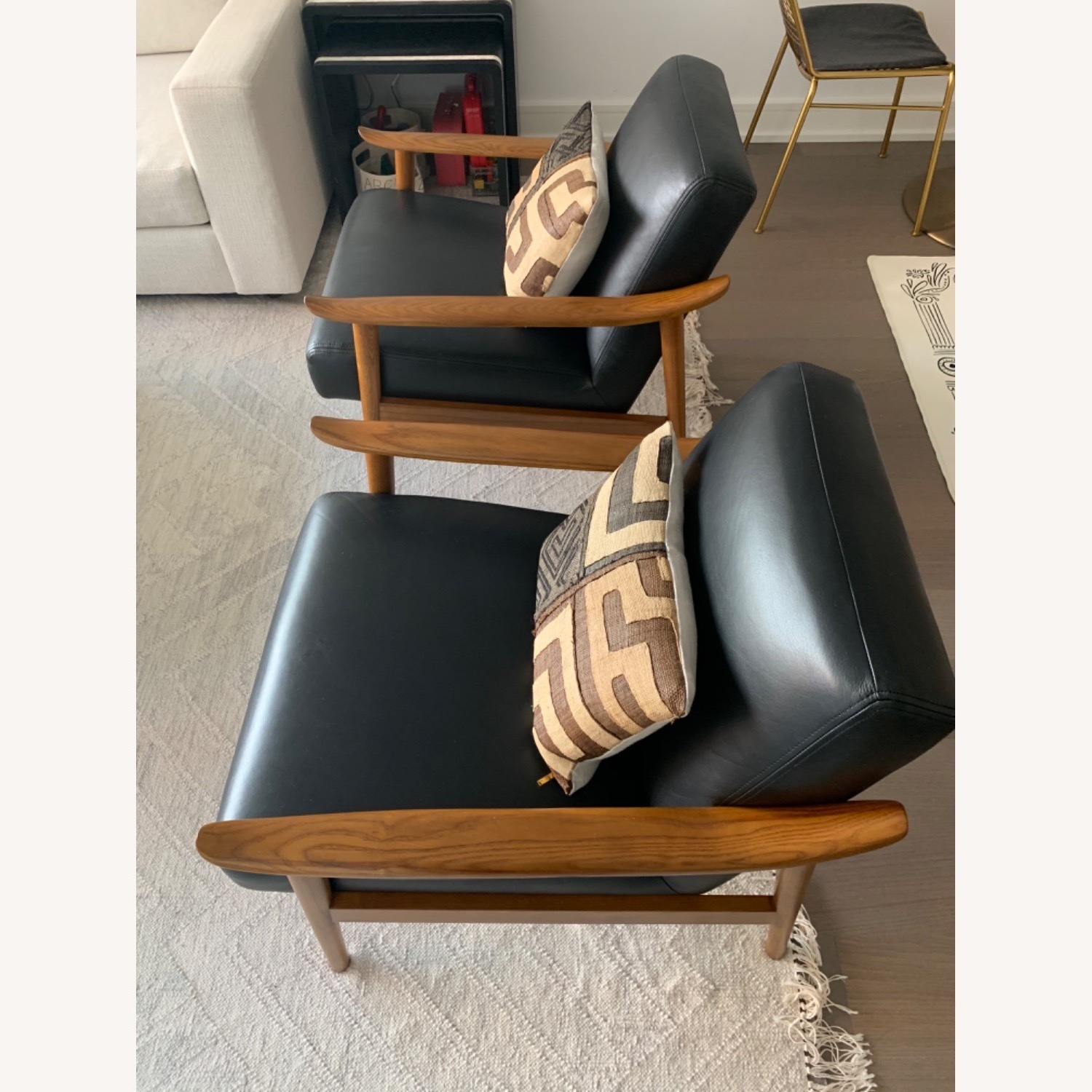 West Elm Mid-Century Leather Wood Chair - image-2