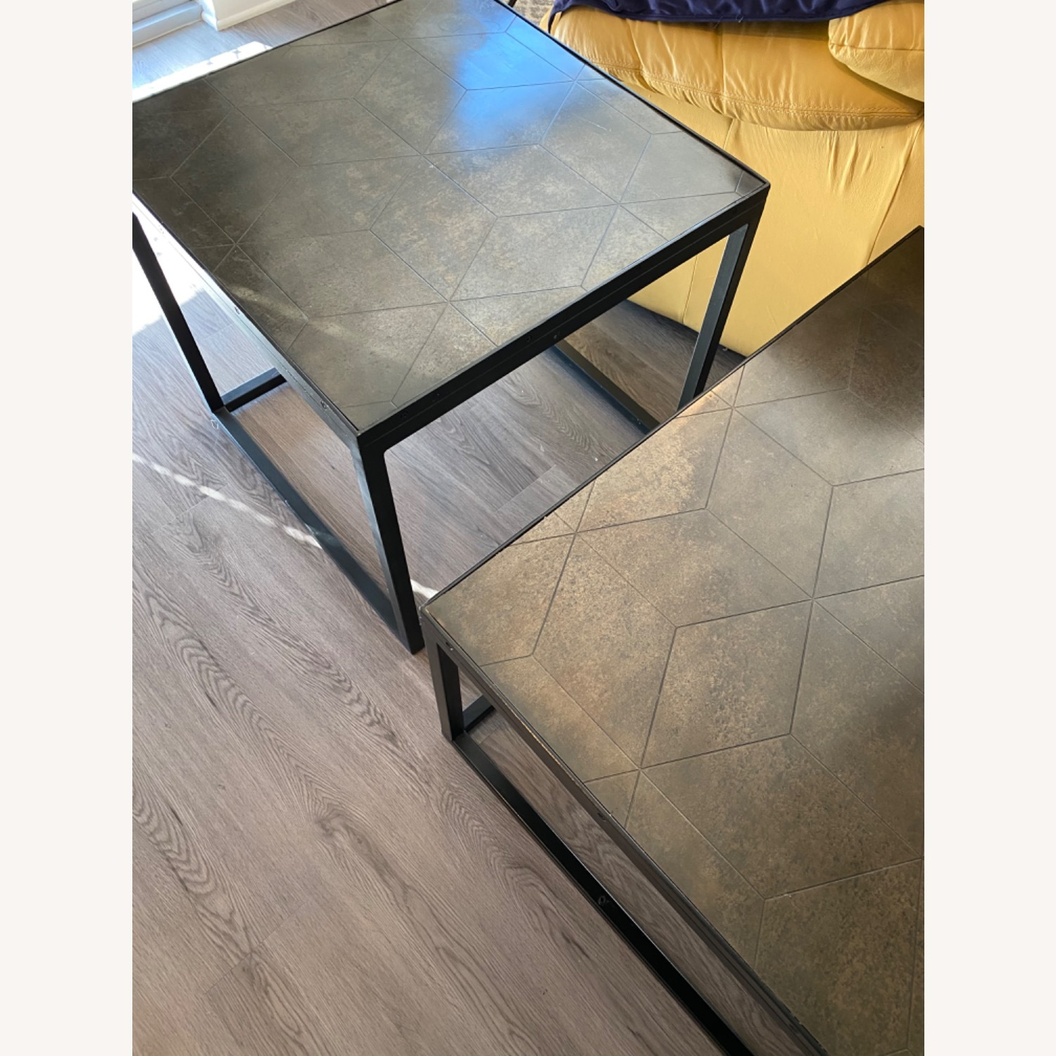 Restoration Hardware Metal Parquet Side Table - image-7