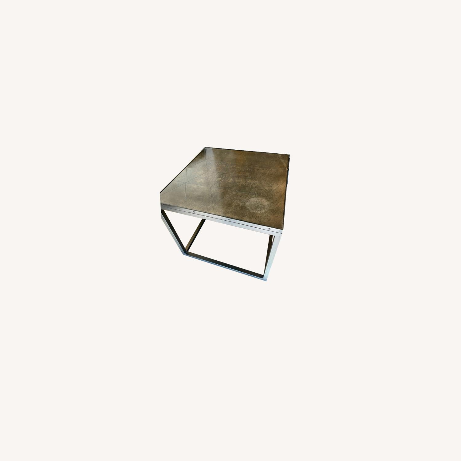 Restoration Hardware Metal Parquet Side Table - image-0
