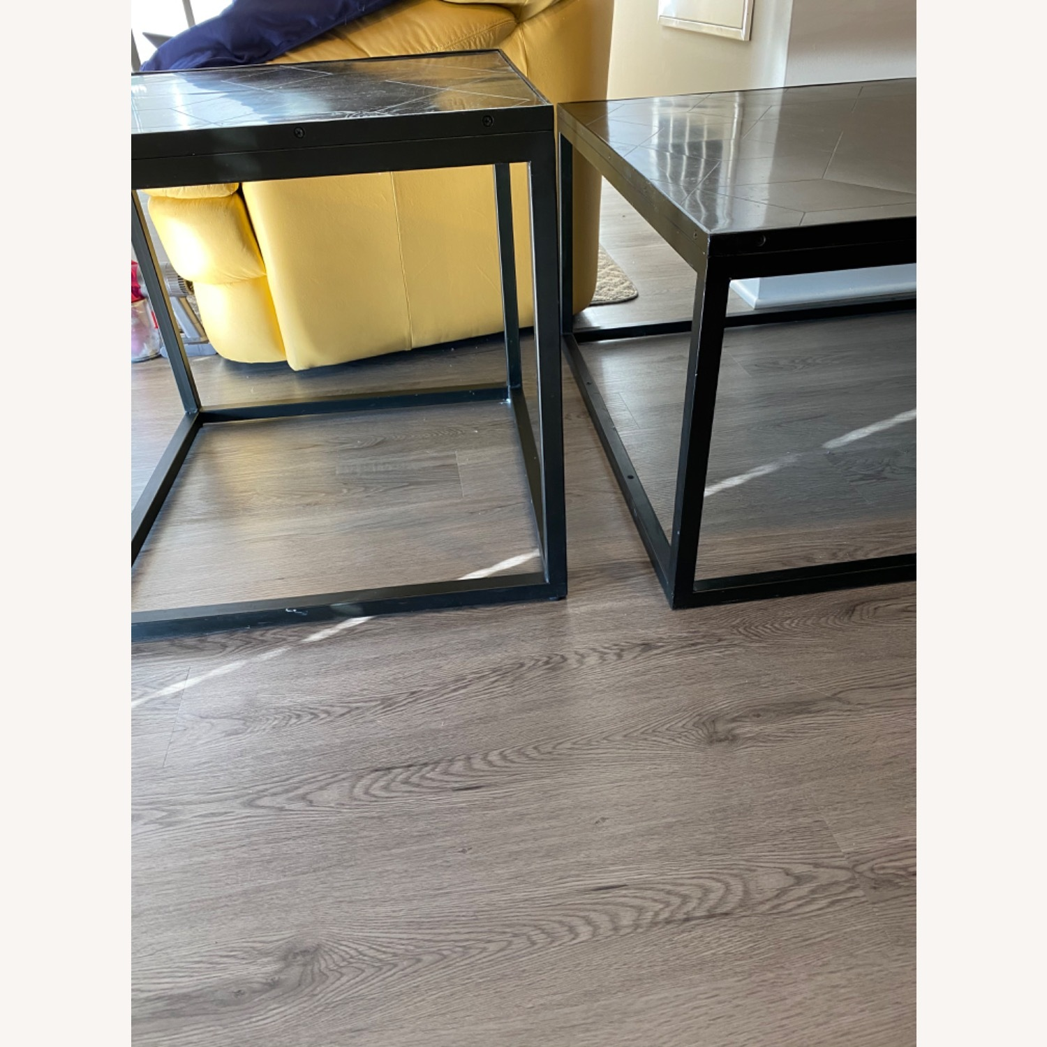 Restoration Hardware Metal Parquet Side Table - image-3