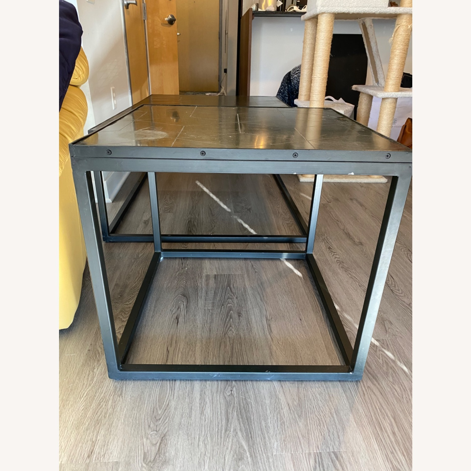 Restoration Hardware Metal Parquet Side Table - image-6