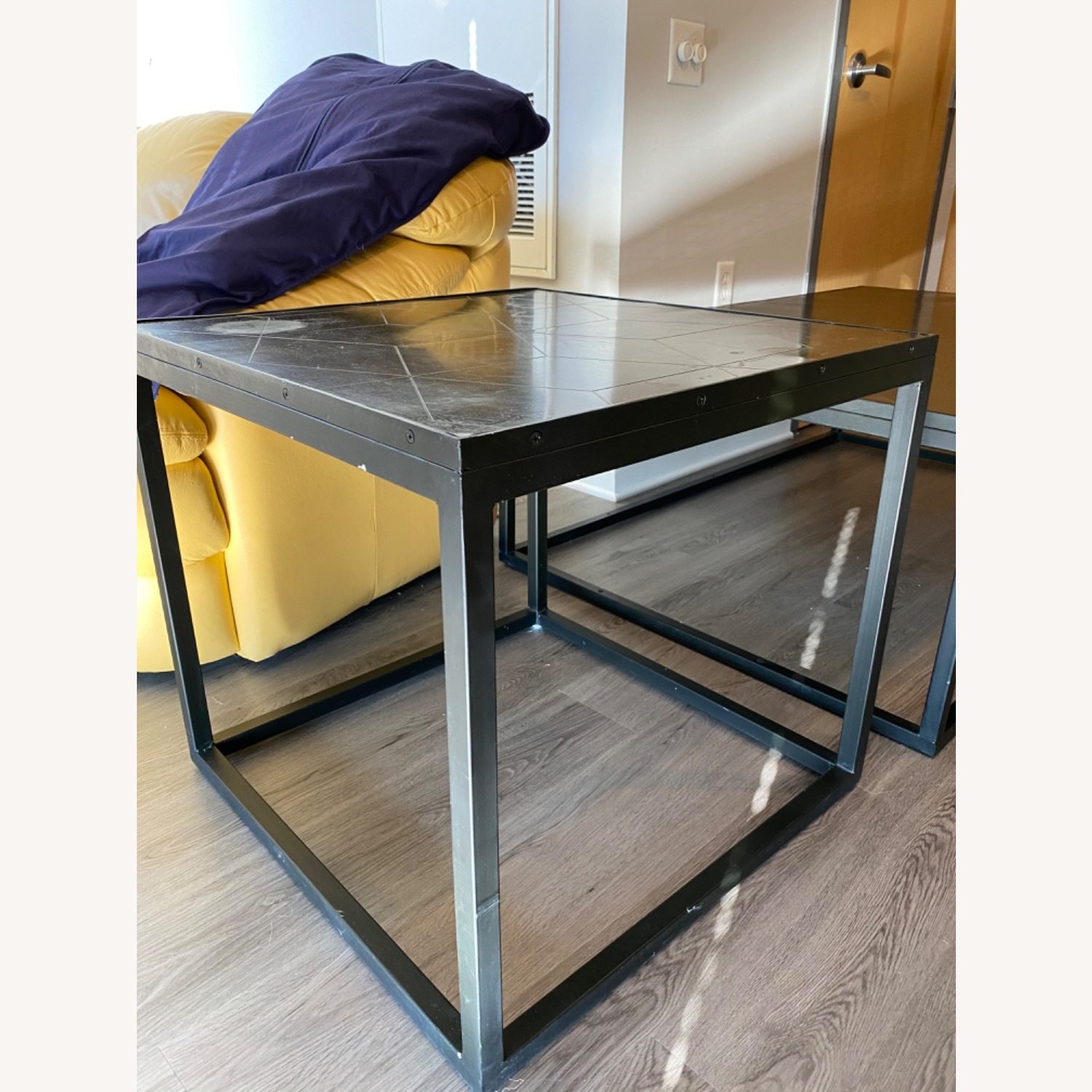 Restoration Hardware Metal Parquet Side Table - image-4