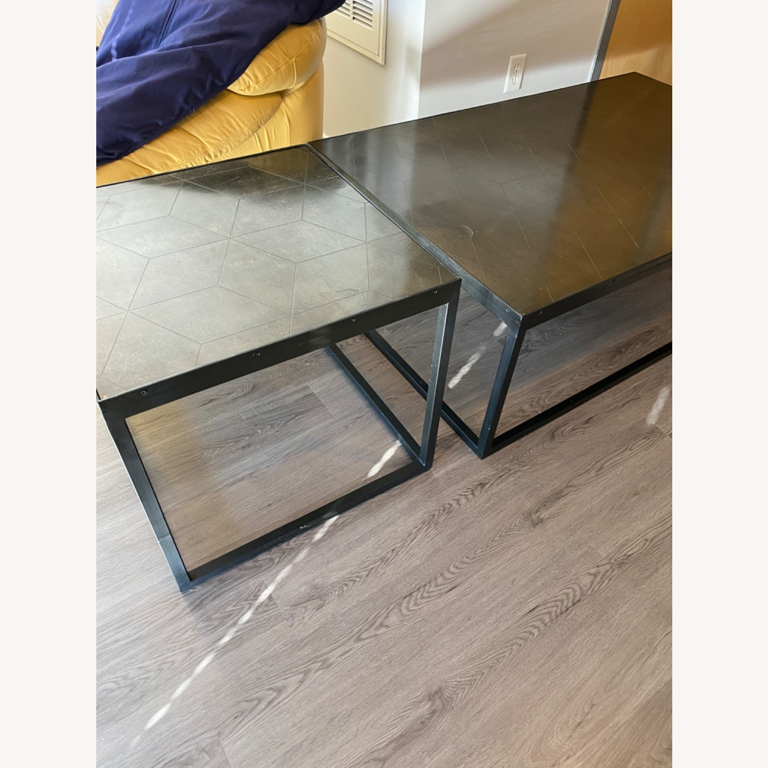 Restoration Hardware Metal Parquet Side Table - image-2