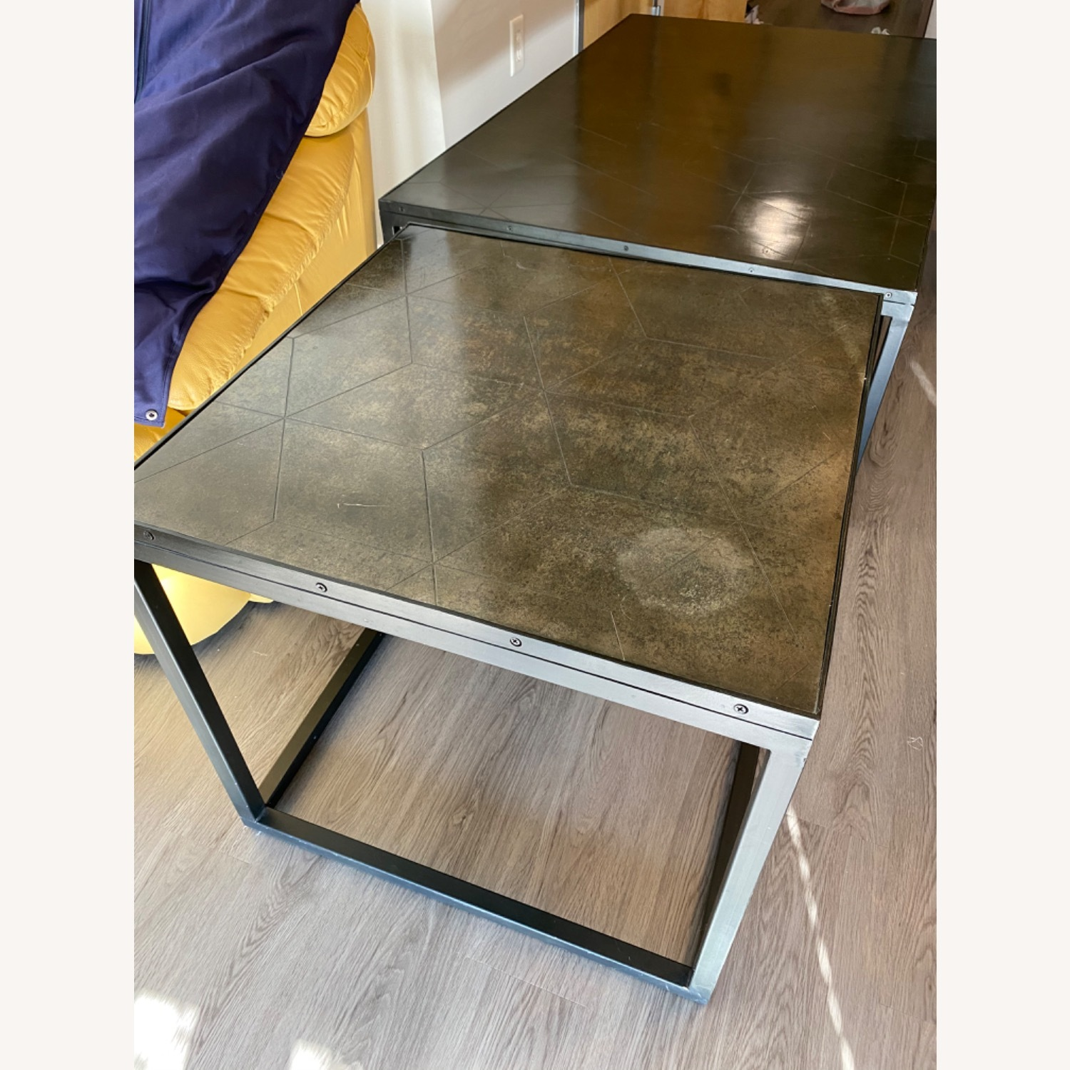 Restoration Hardware Metal Parquet Side Table - image-1
