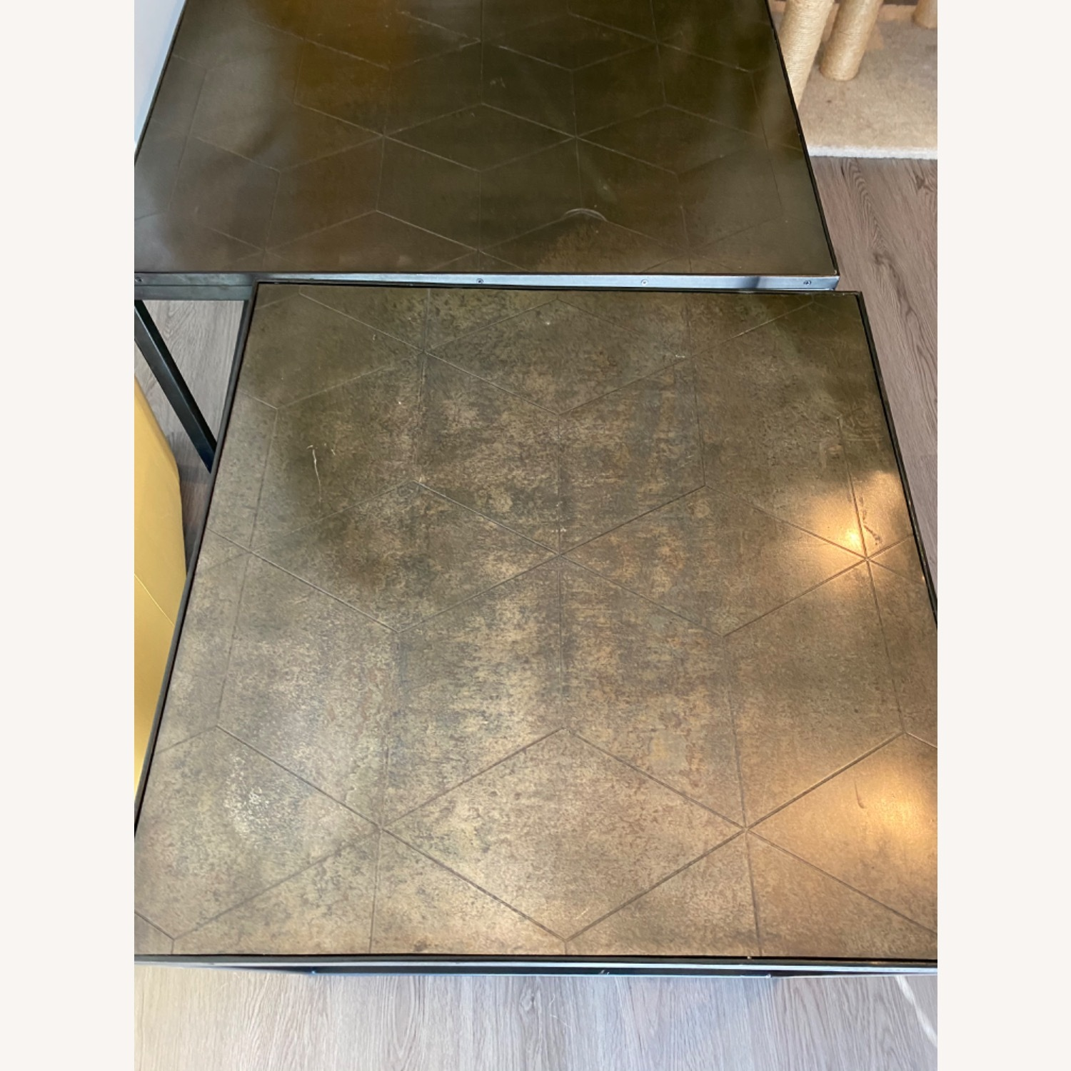 Restoration Hardware Metal Parquet Side Table - image-5