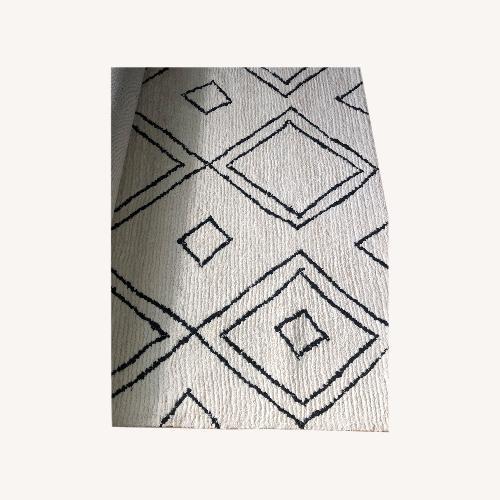 Used Rugs USA Natural Moroccan Diamond Wool Area Rug for sale on AptDeco