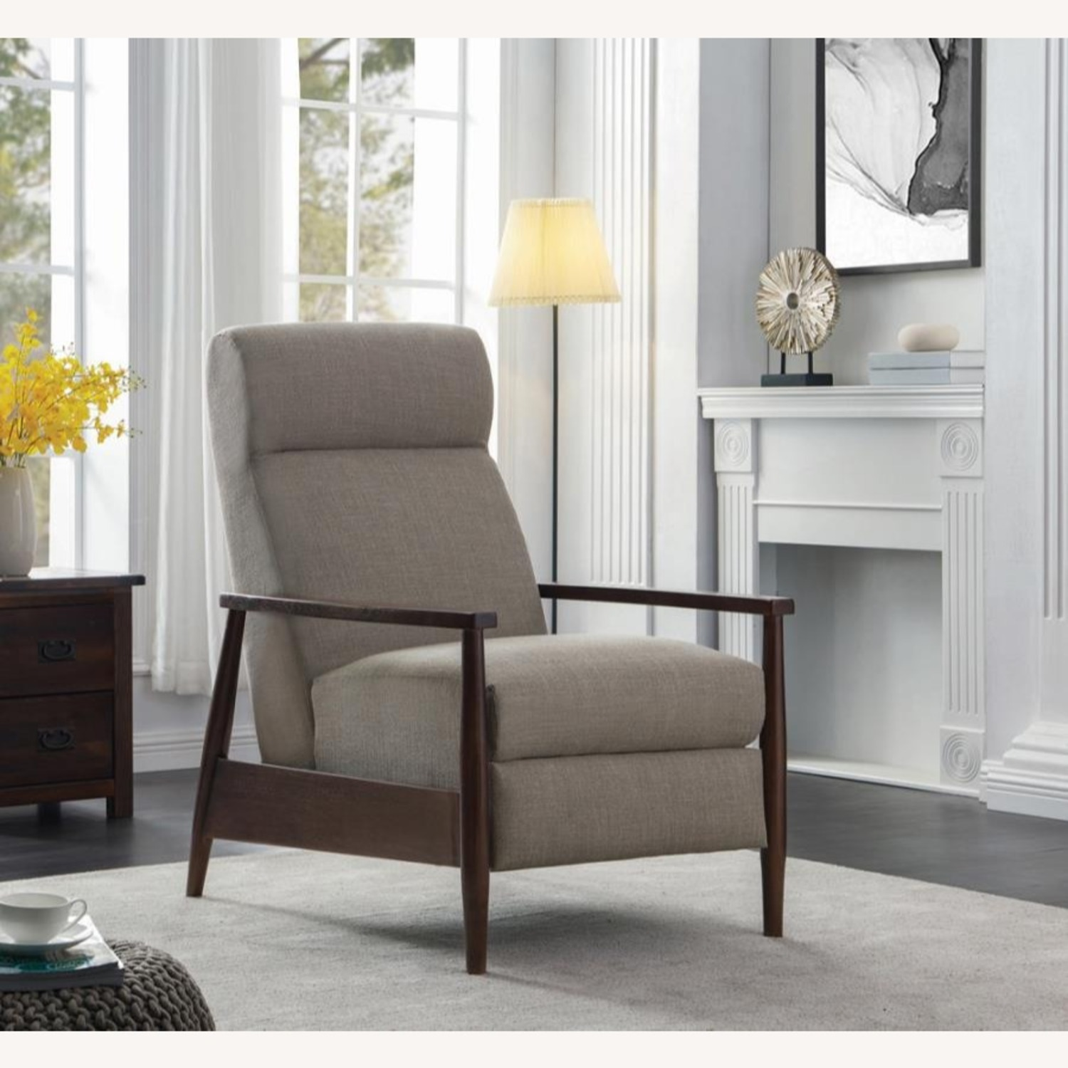 Push-Back Recliner In Cream Performance Fabric - image-6