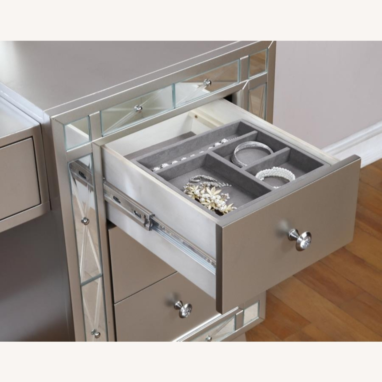 Vanity Desk & Stool In Metallic Mercury Finish - image-2