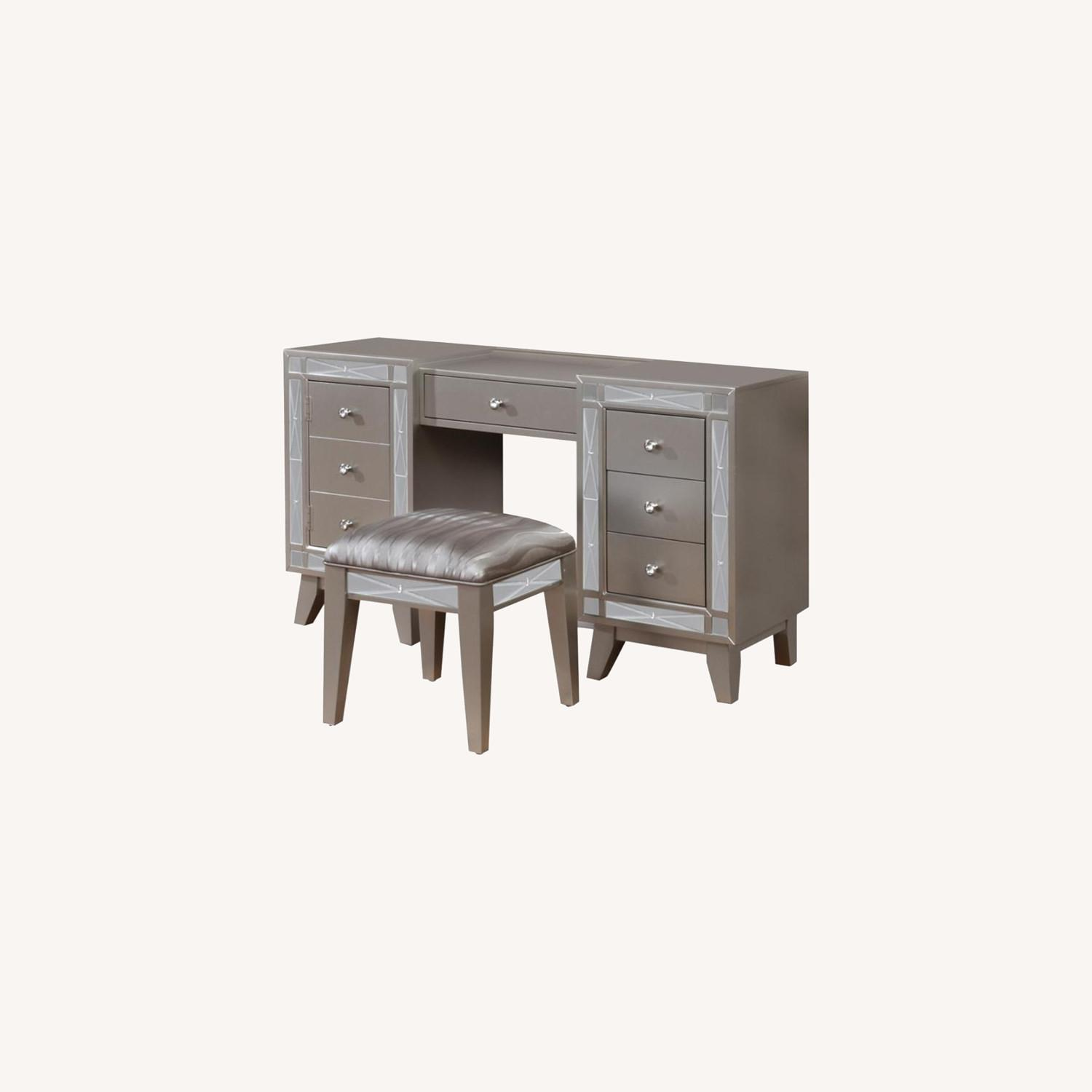 Vanity Desk & Stool In Metallic Mercury Finish - image-5
