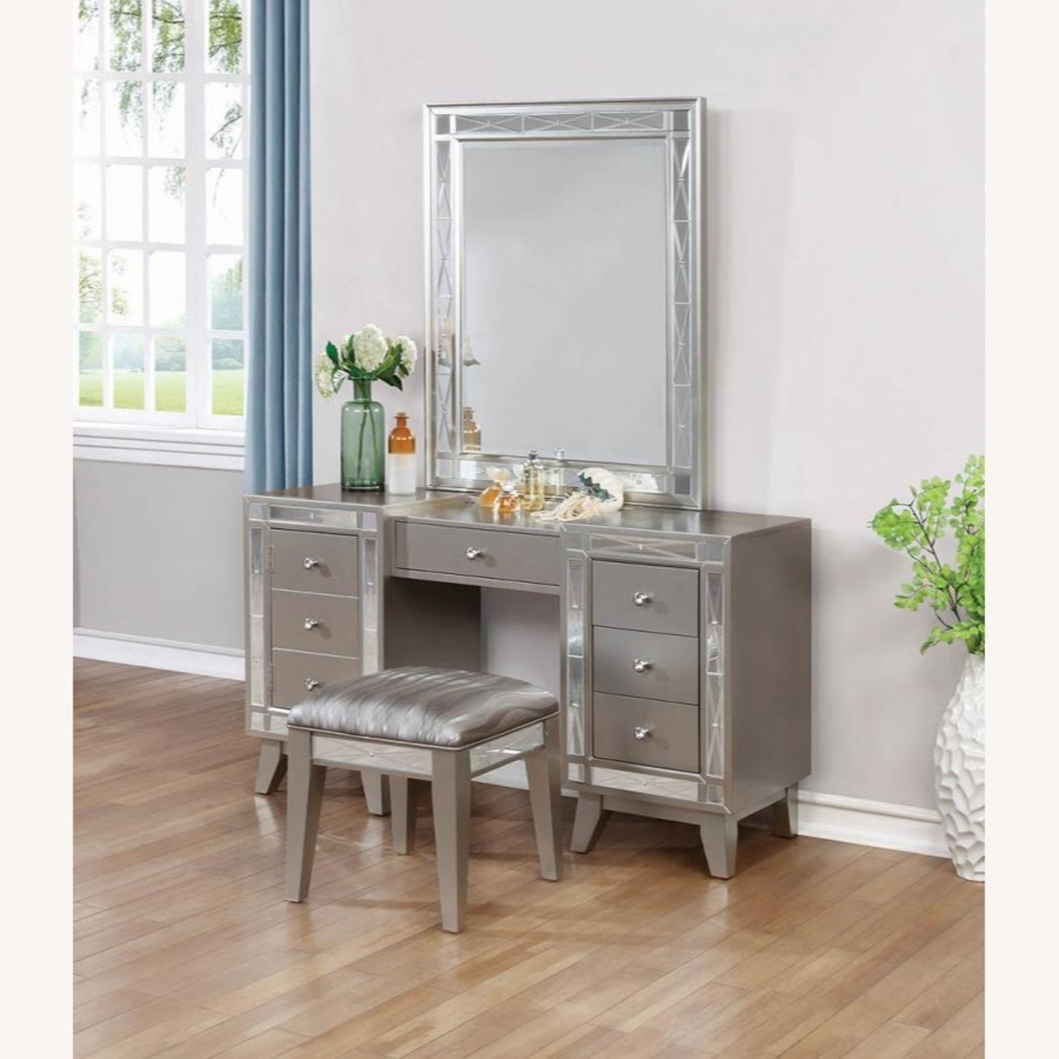Vanity Desk & Stool In Metallic Mercury Finish - image-4