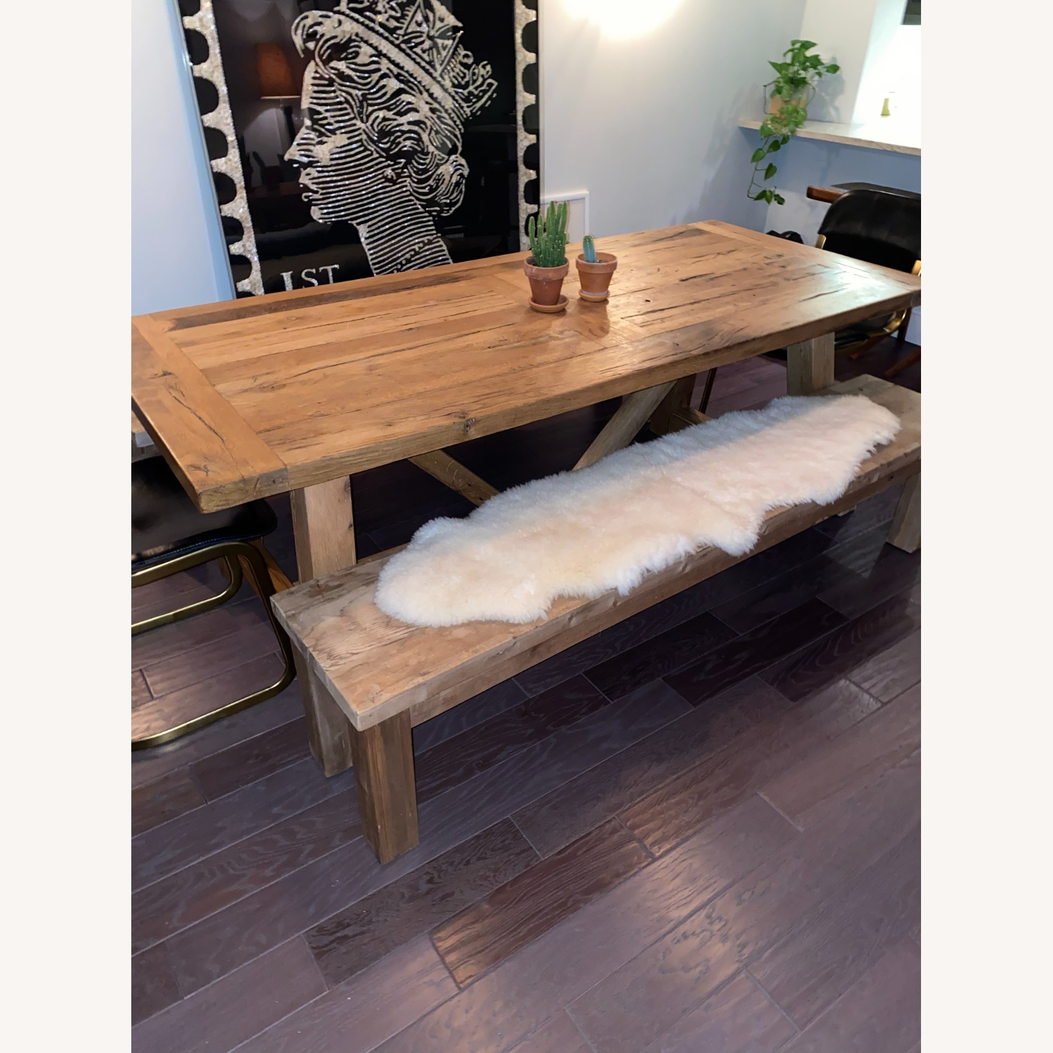 Restoration Hardware Russian Oak Table and Benches - image-4