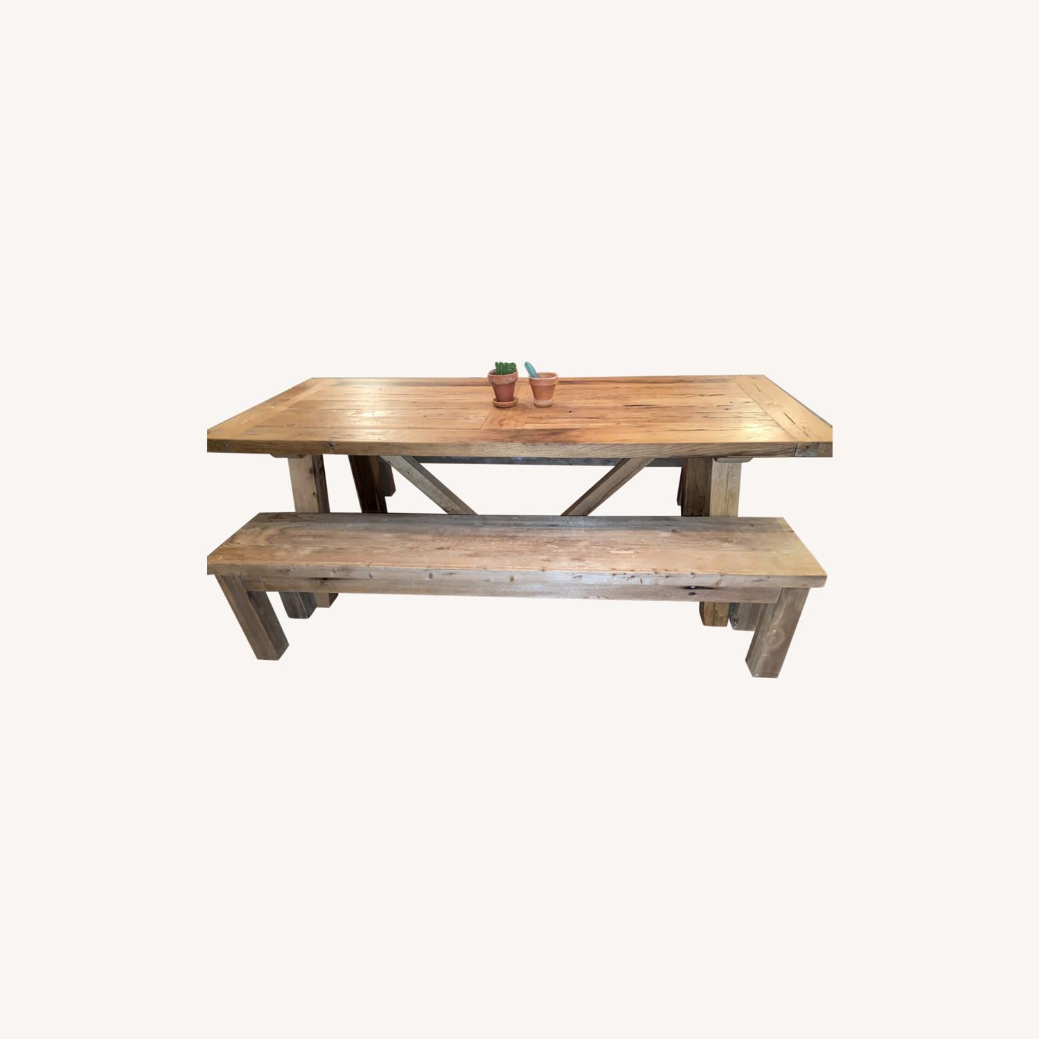 Restoration Hardware Russian Oak Table and Benches - image-0