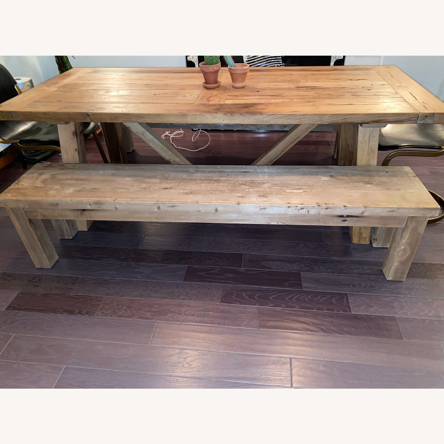 Restoration Hardware Russian Oak Table and Benches - image-2