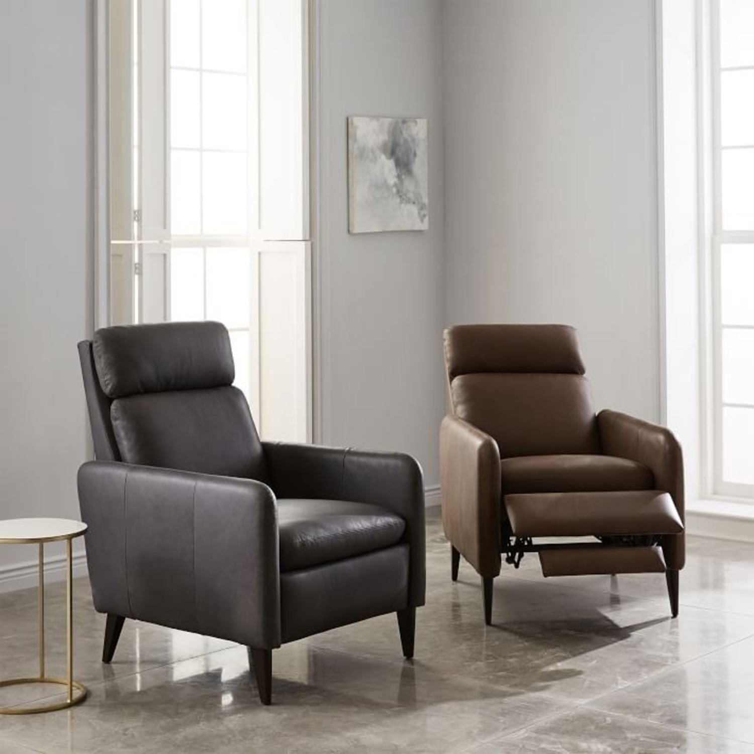 West Elm Lewis Leather Recliner - image-2
