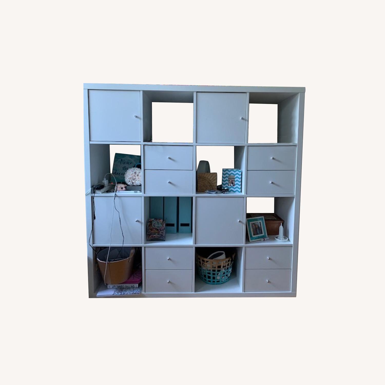 IKEA Assembled White Kallax Book Shelf - image-0