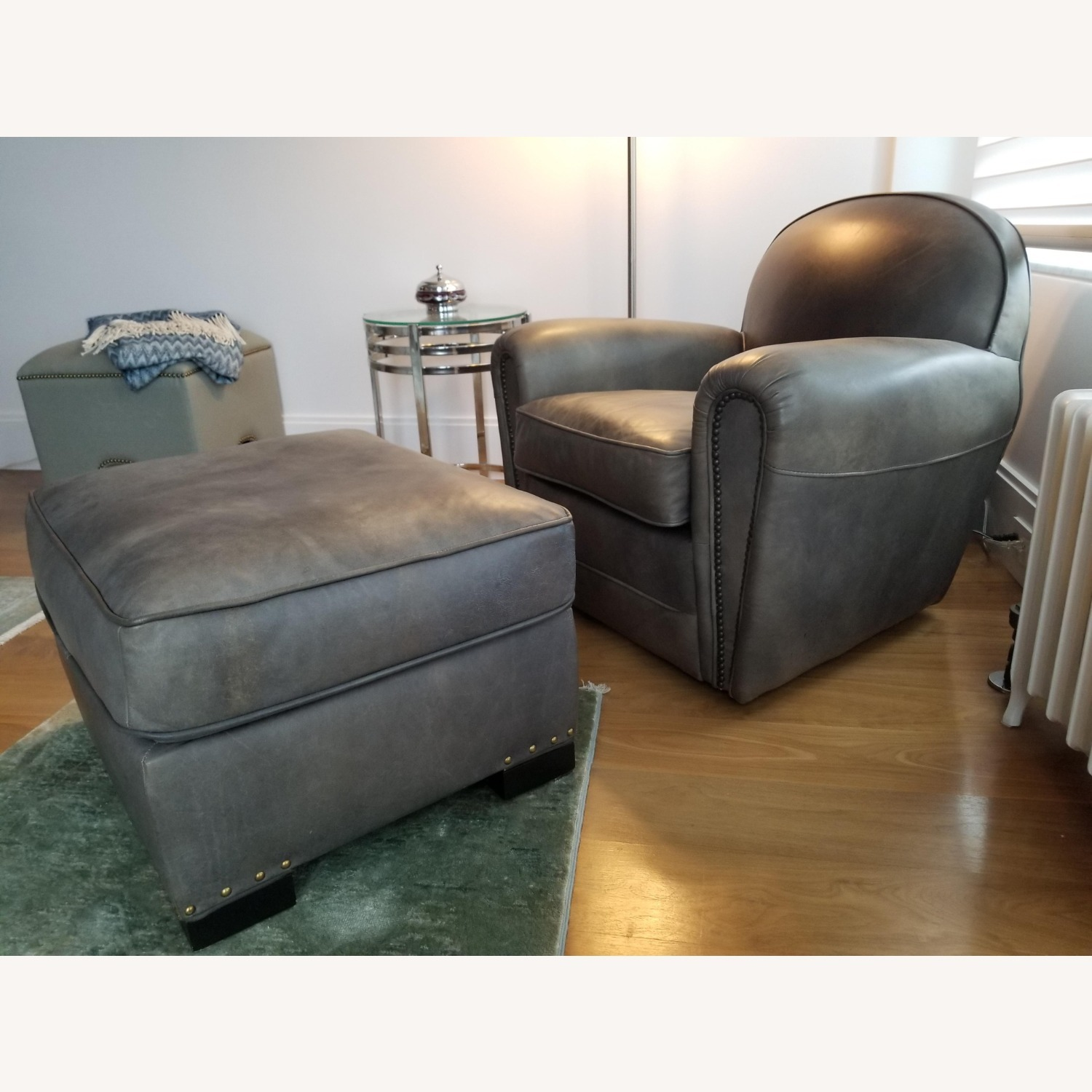 Restoration Hardware Gray Leather Club Chair - image-4