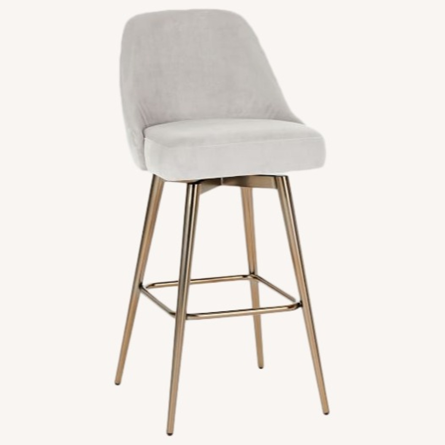 West Elm Bar Stool Velvet Dove Grey - image-0