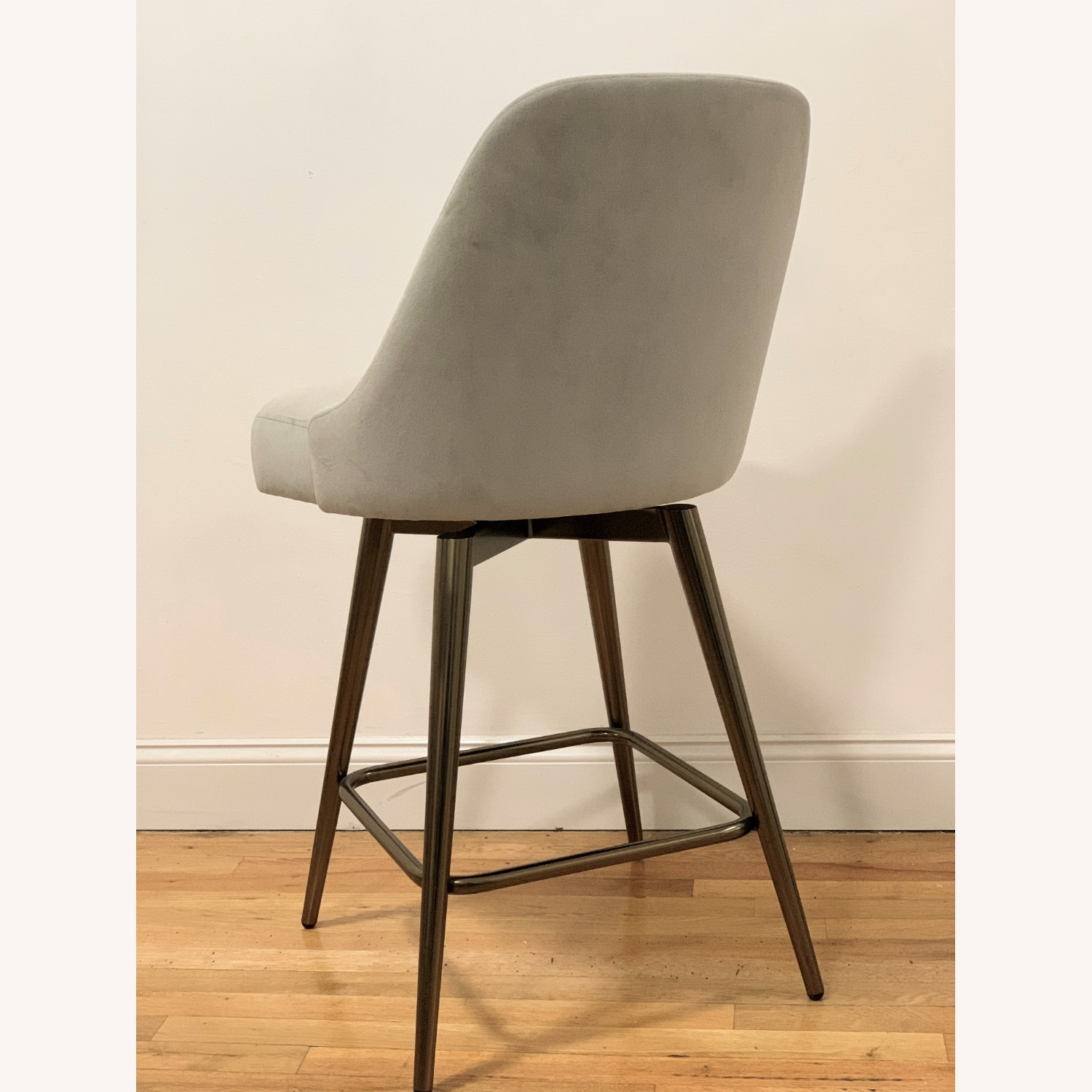 West Elm Bar Stool Velvet Dove Grey - image-3