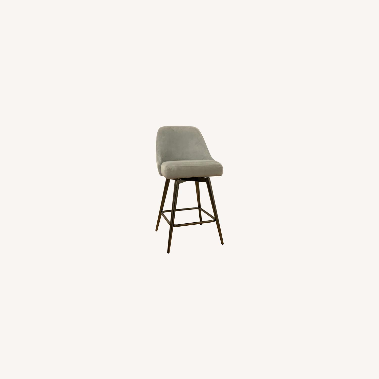West Elm Bar Stool Velvet Dove Grey - image-6