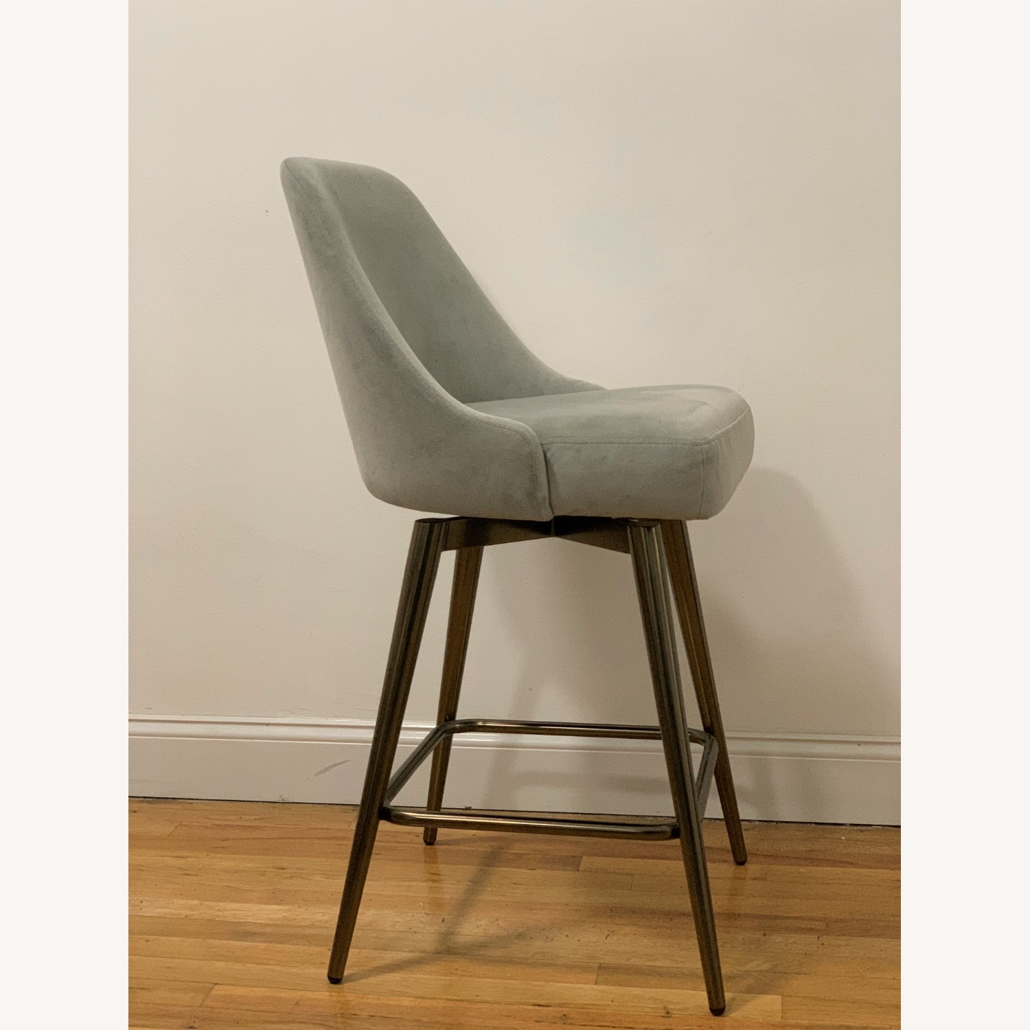 West Elm Bar Stool Velvet Dove Grey - image-2