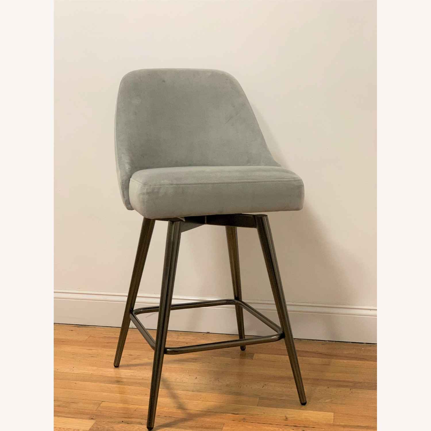 West Elm Bar Stool Velvet Dove Grey - image-5