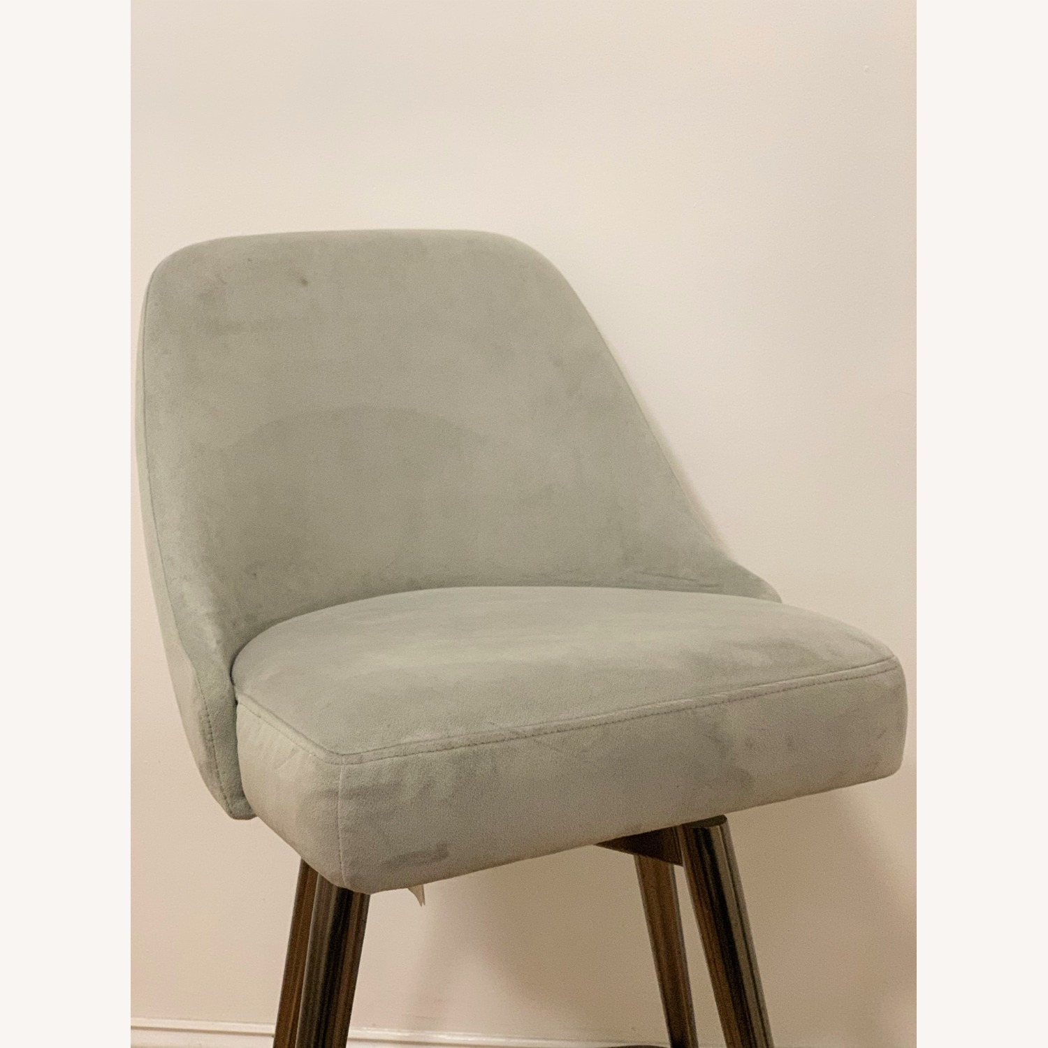 West Elm Bar Stool Velvet Dove Grey - image-1