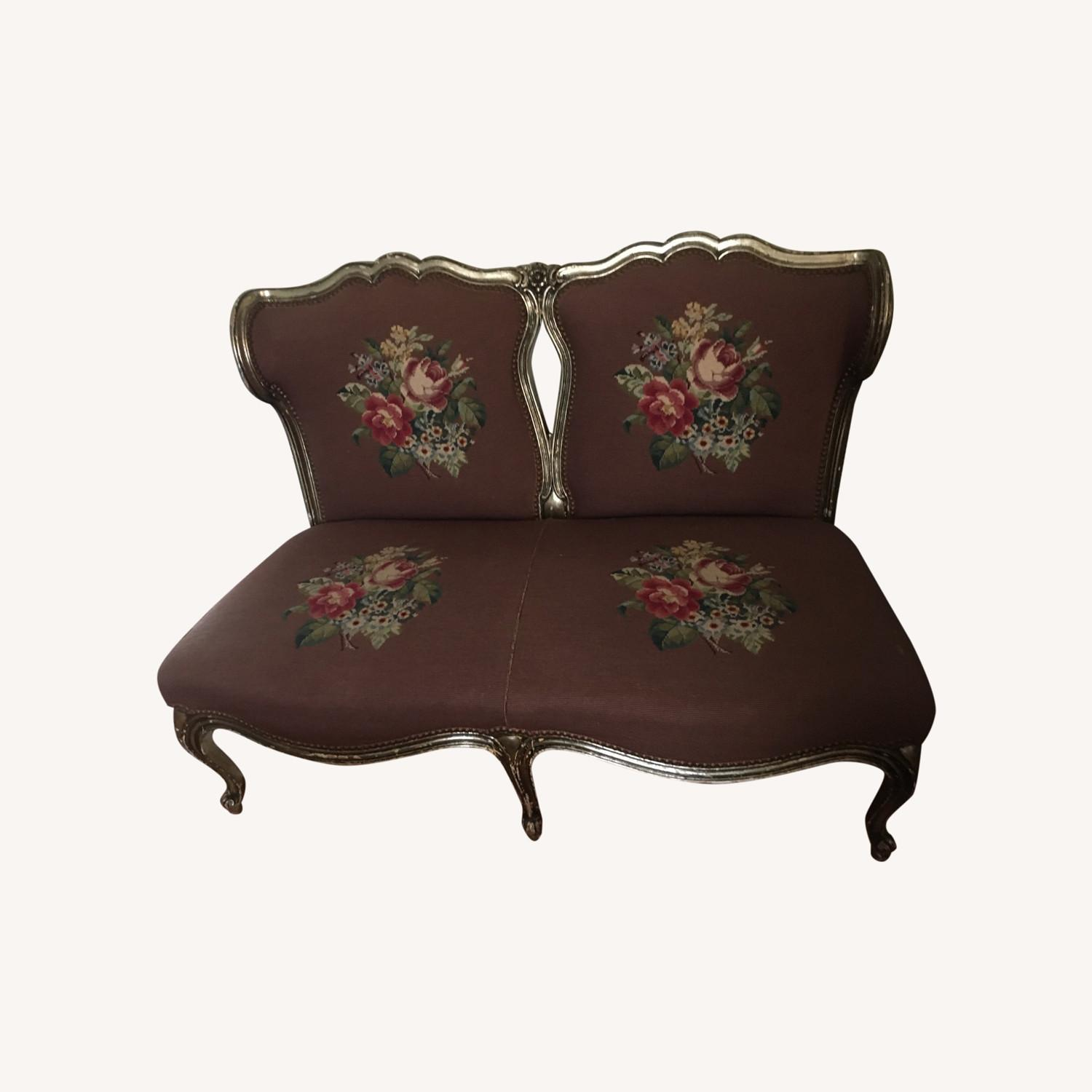Taylor Made Needlepoint Floral Fabric Loveseat - image-0