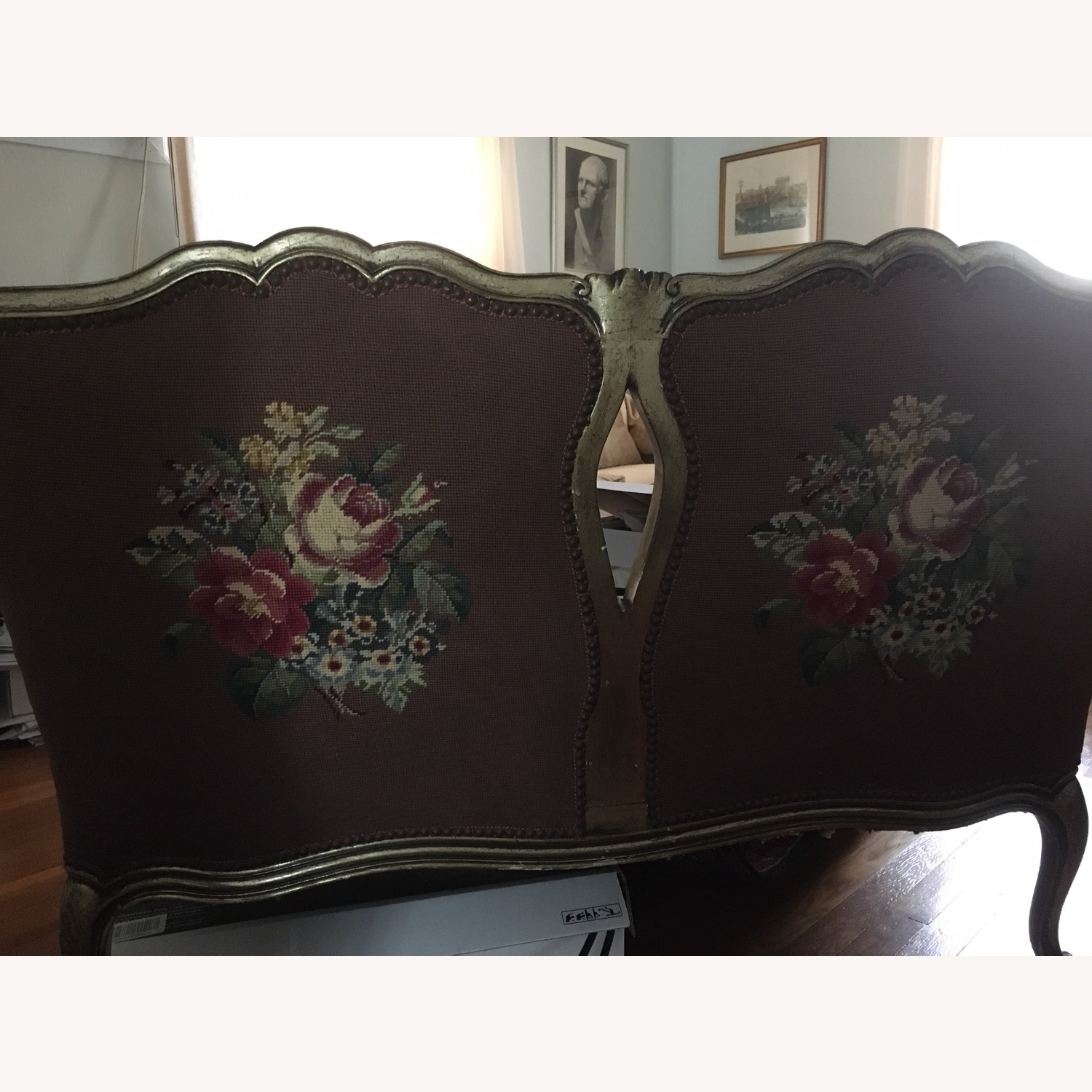 Taylor Made Needlepoint Floral Fabric Loveseat - image-2
