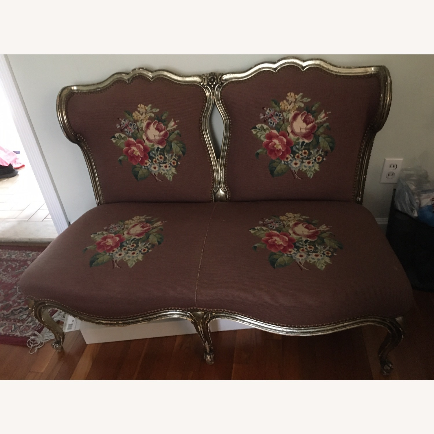 Taylor Made Needlepoint Floral Fabric Loveseat - image-1